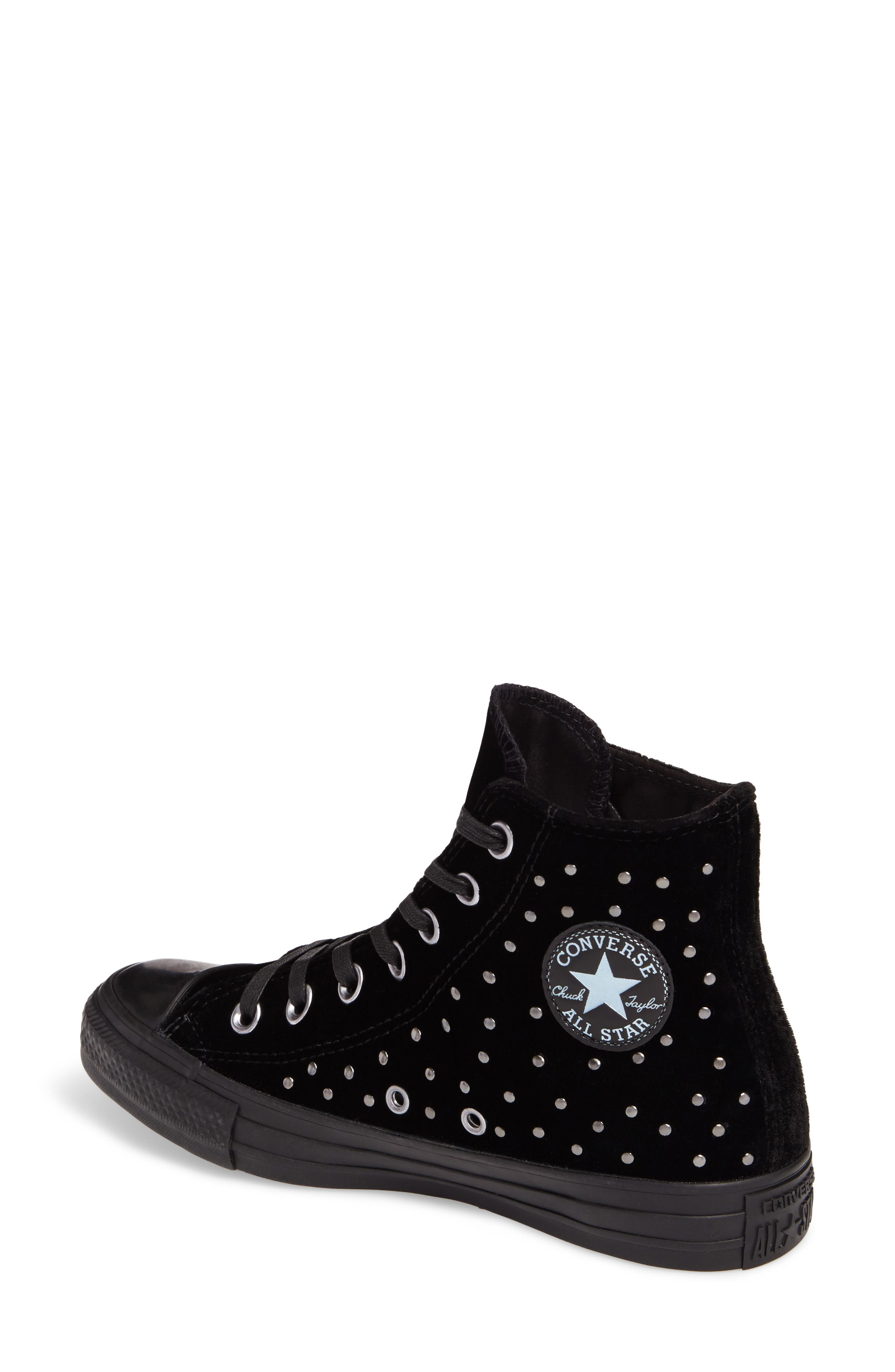 Chuck Taylor<sup>®</sup> All Star<sup>®</sup> Studded High Top Sneakers,                             Alternate thumbnail 2, color,                             001