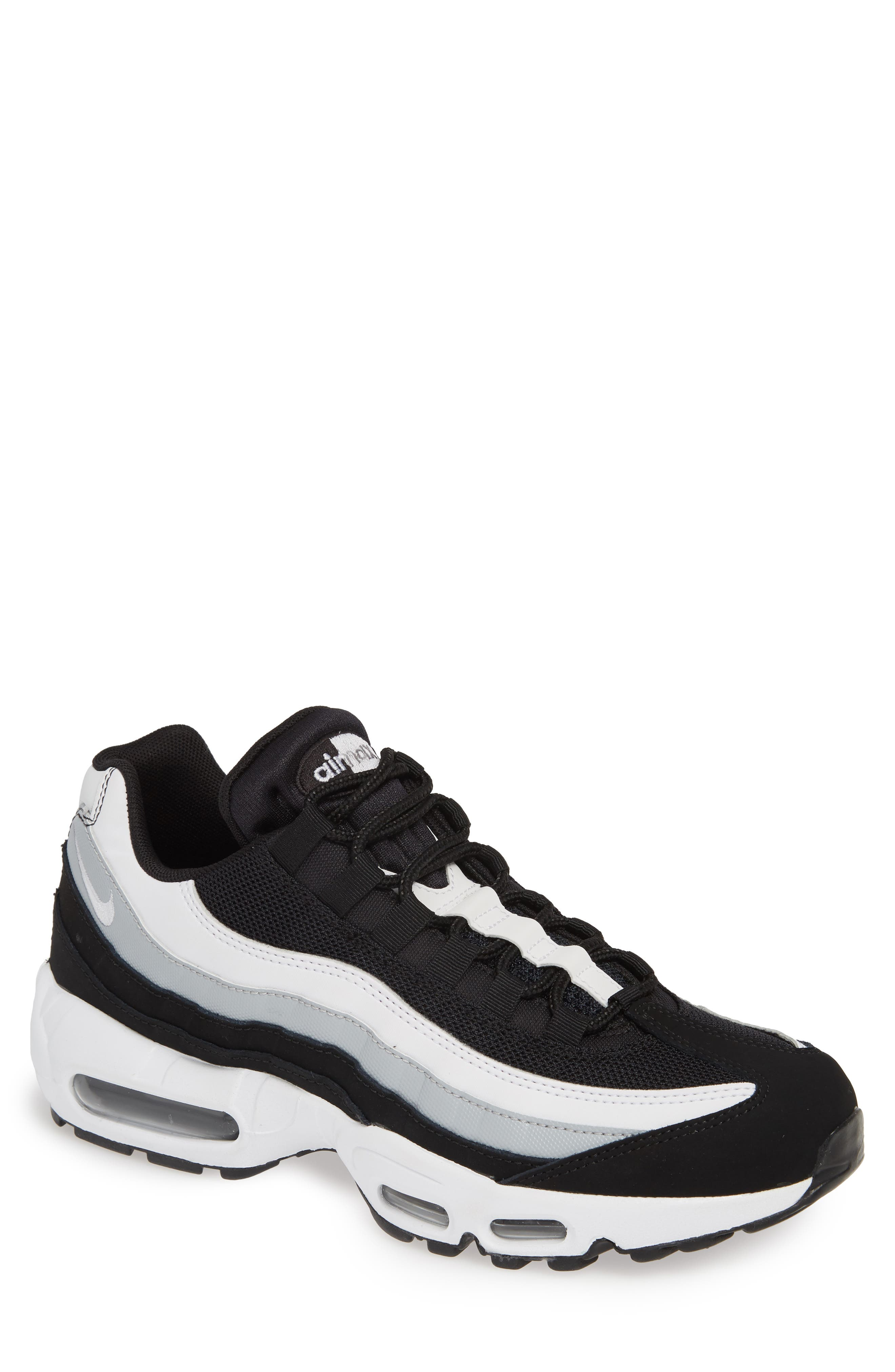 NIKE,                             'Air Max 95 Essential' Sneaker,                             Main thumbnail 1, color,                             BLACK/ WHITE/ WOLF GREY