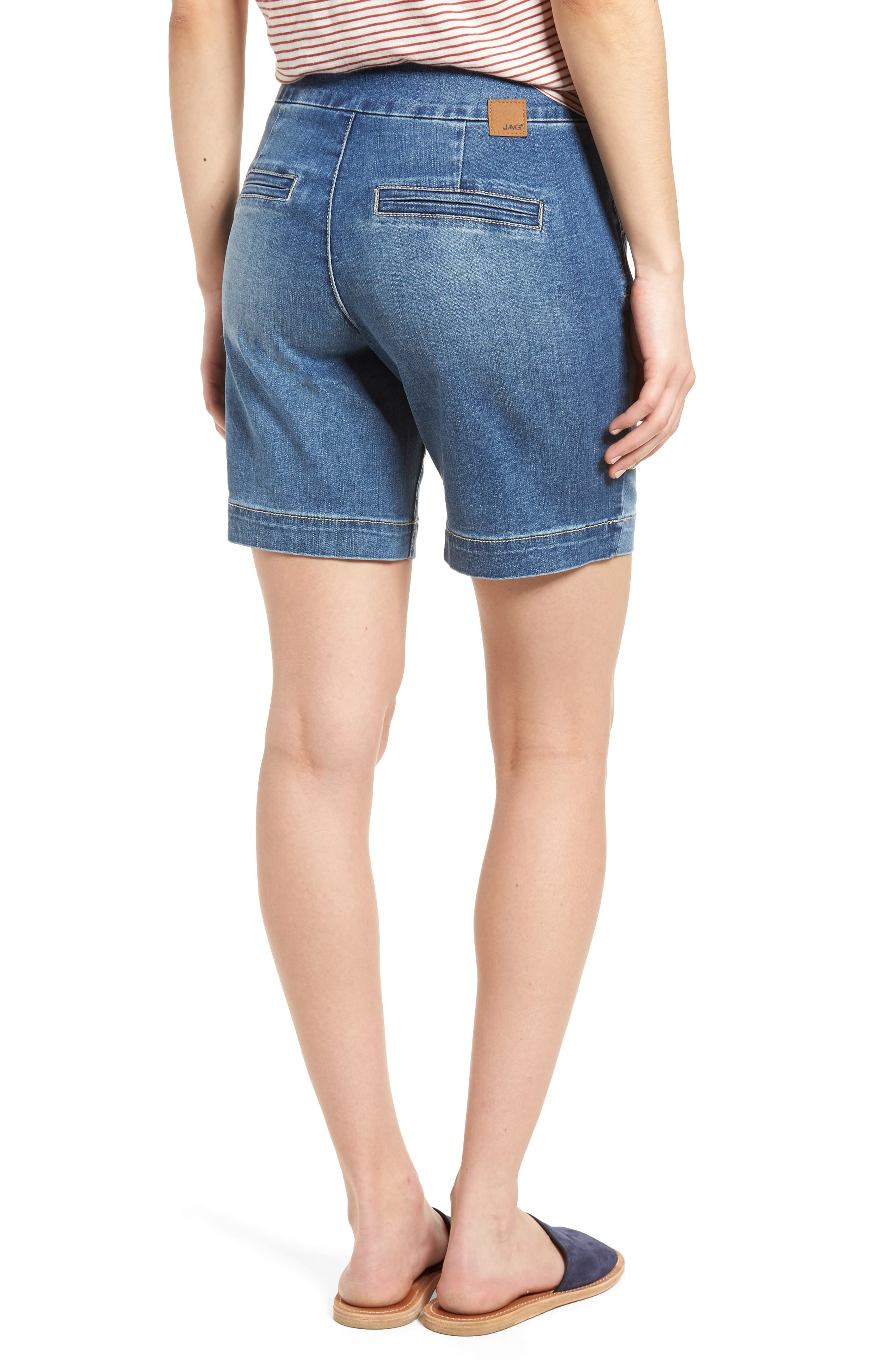 Ainsley Pull-On Stretch Denim Shorts,                             Alternate thumbnail 2, color,                             420