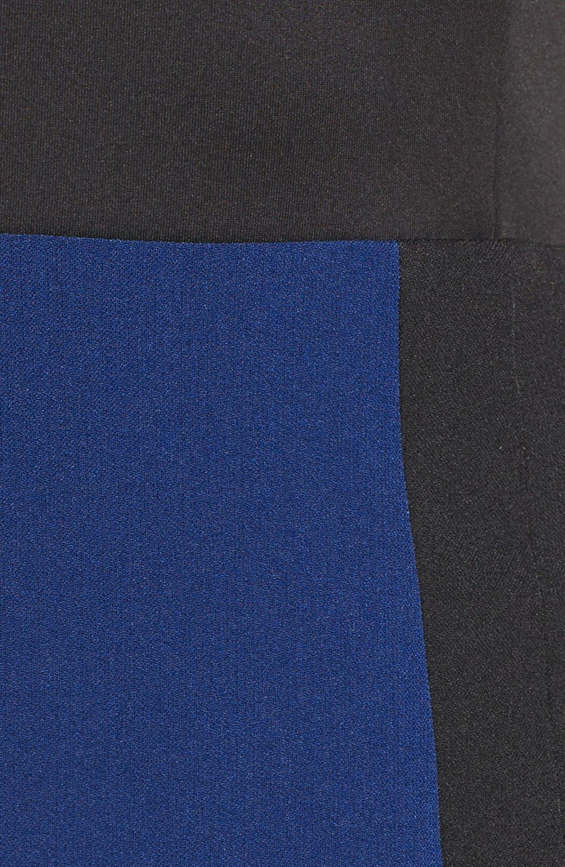 Scuba & Crepe Sheath Dress,                             Alternate thumbnail 6, color,