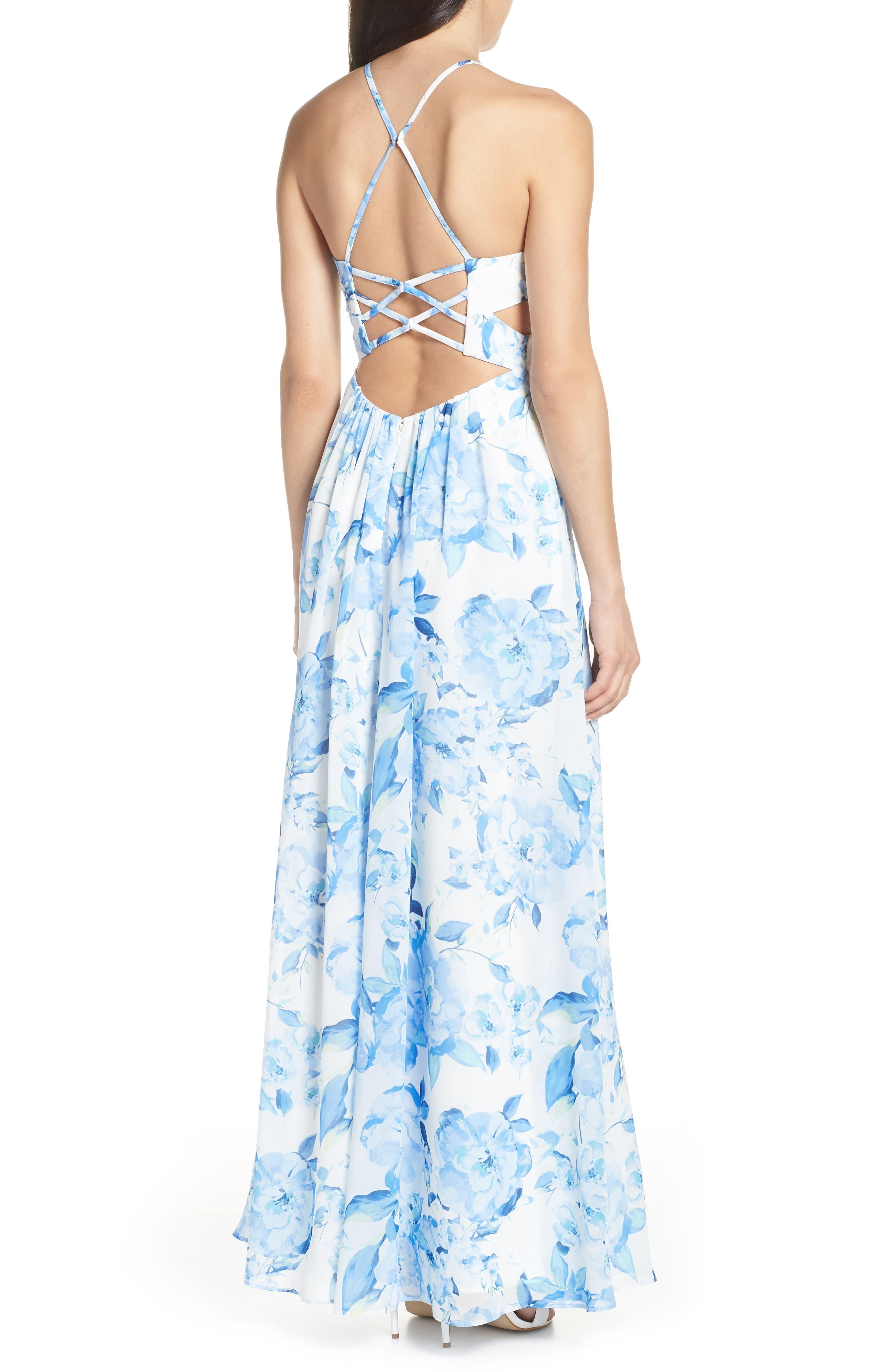MORGAN & CO.,                             Floral Print Strappy Back Evening Dress,                             Alternate thumbnail 2, color,                             WHITE/ MULTI