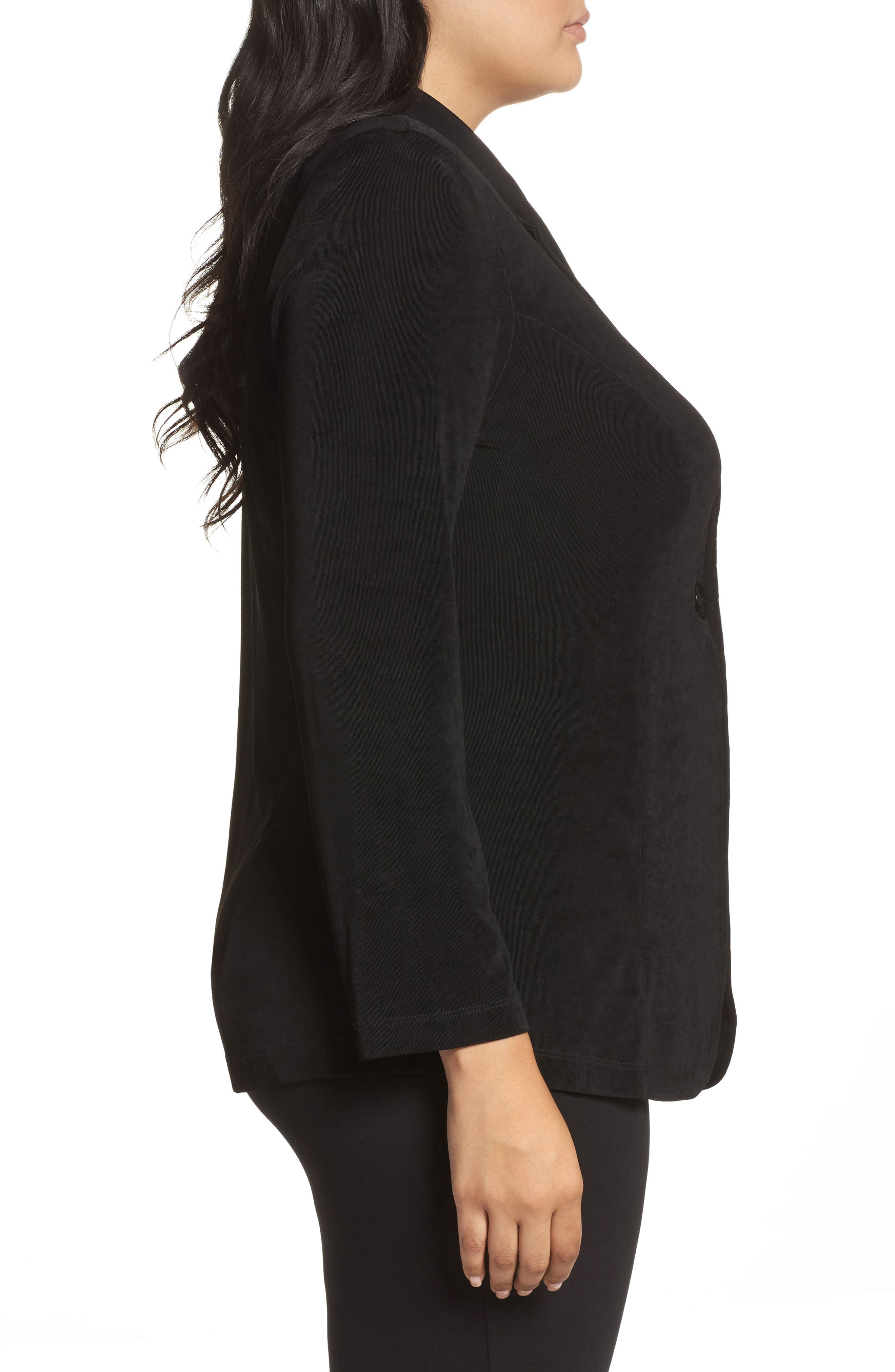 One-Button Stretch Knit Blazer,                             Alternate thumbnail 4, color,                             BLACK