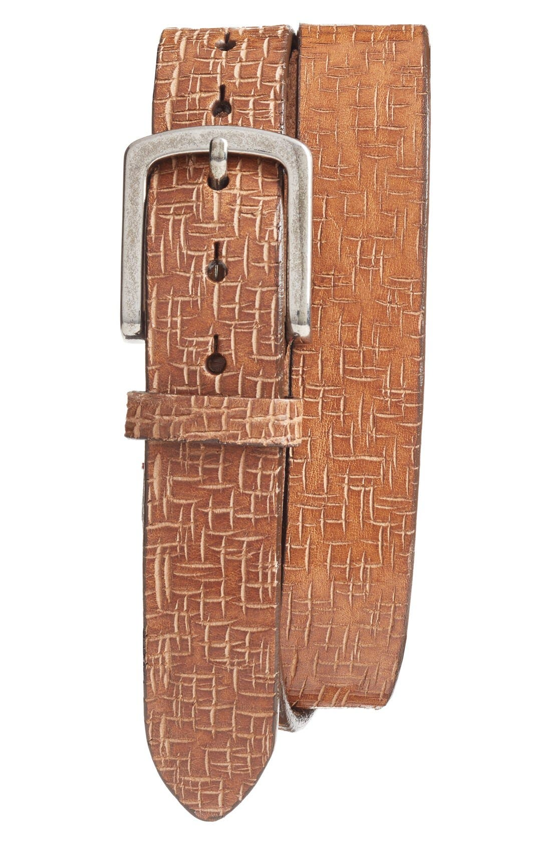 Leather Belt,                         Main,                         color, TAN
