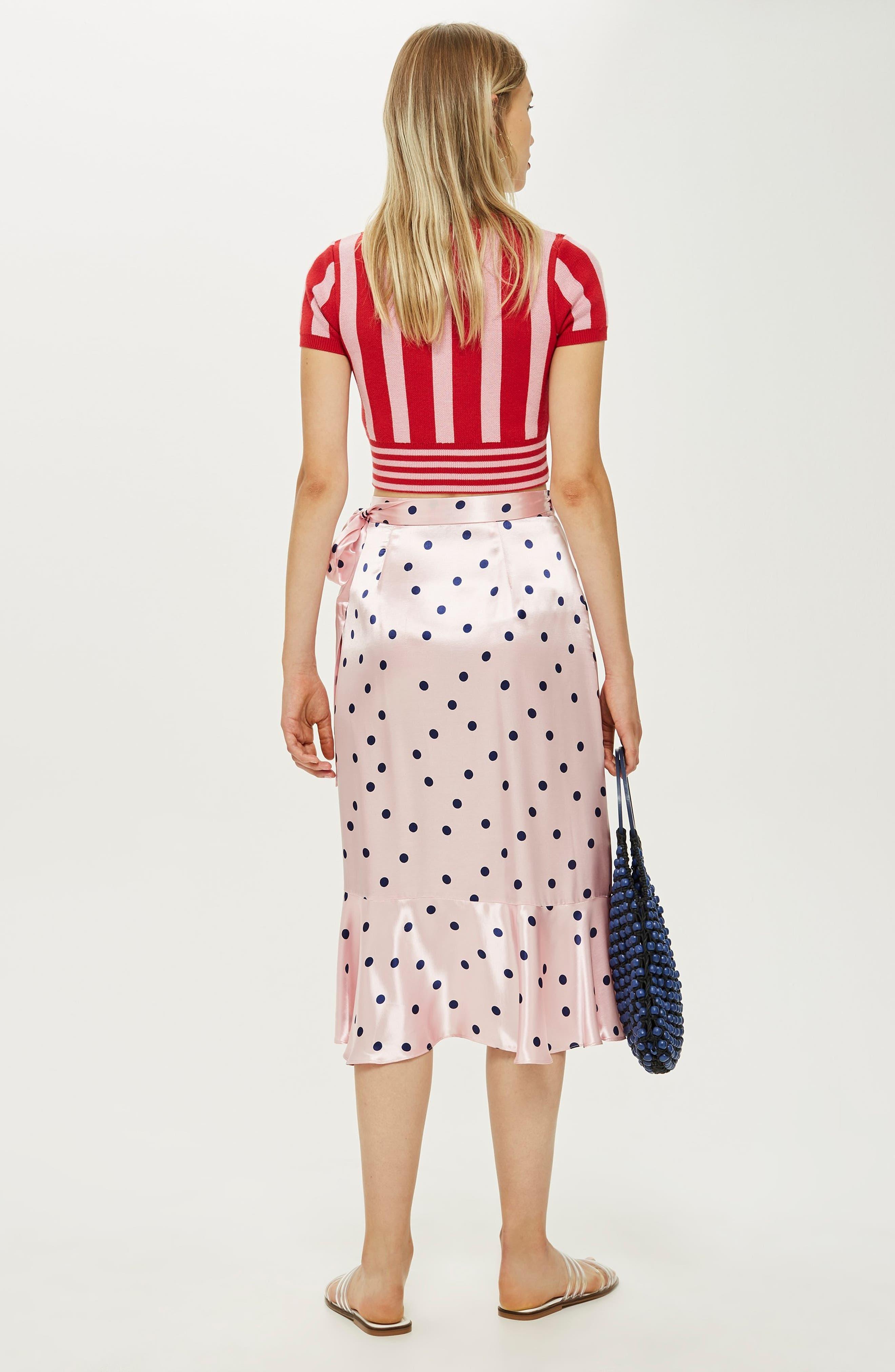 Satin Spot Ruffle Skirt,                             Alternate thumbnail 4, color,                             PINK MULTI