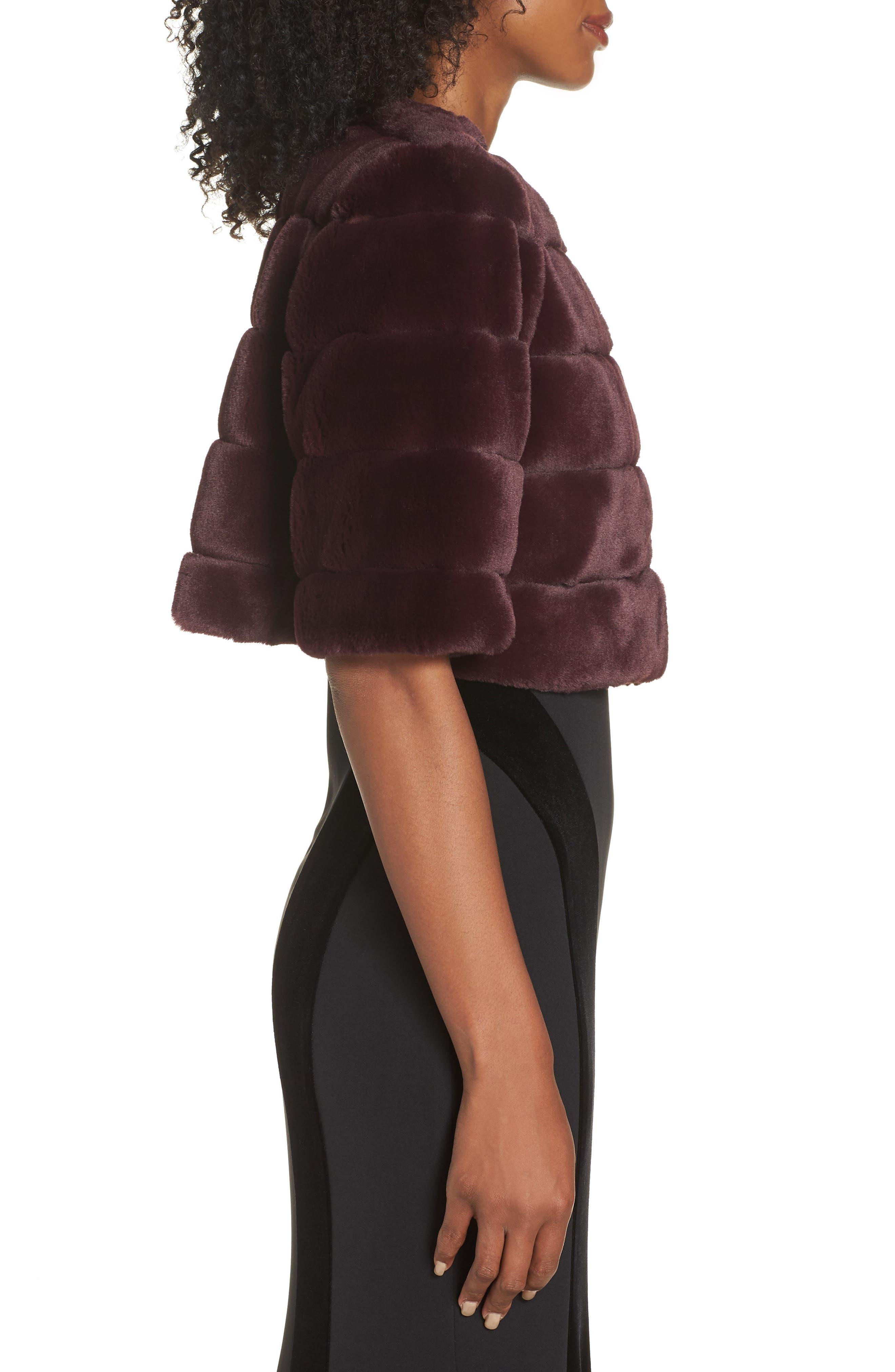 ELIZA J,                             Faux Fur Crop Jacket,                             Alternate thumbnail 4, color,                             WINE
