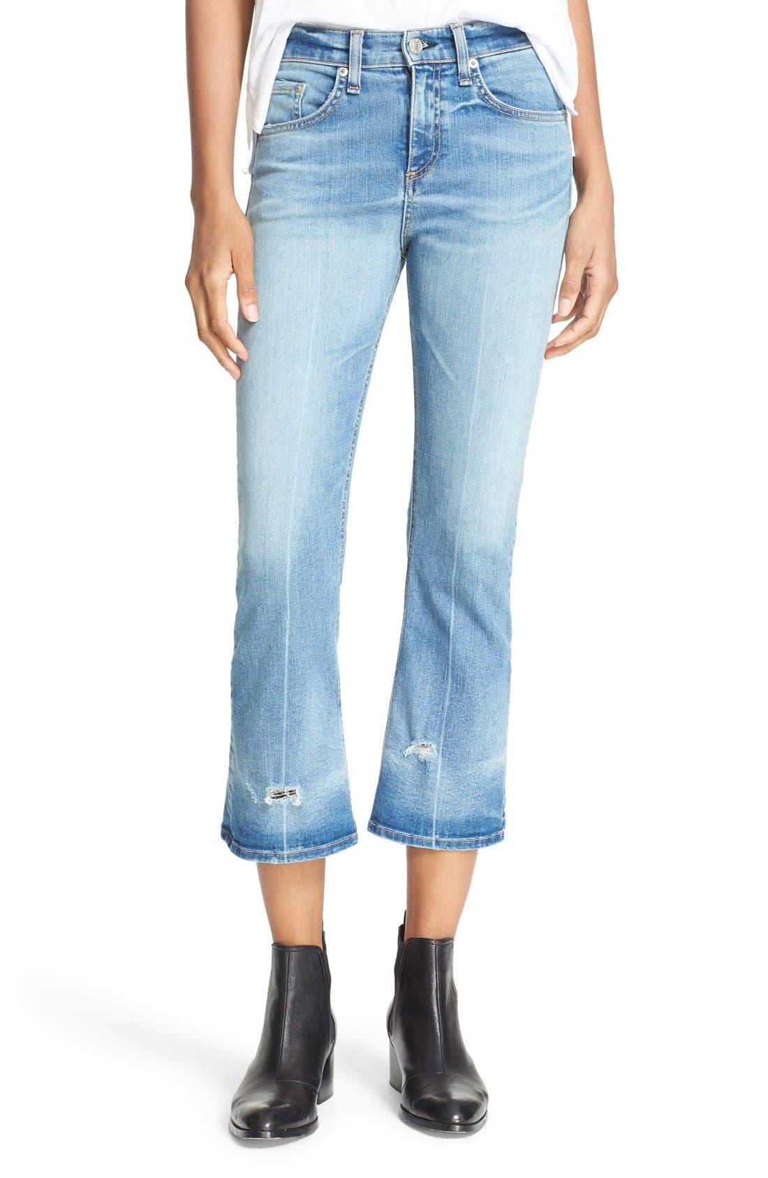 RAG & BONE,                             JEAN Distressed Crop Flare Jeans,                             Main thumbnail 1, color,                             451