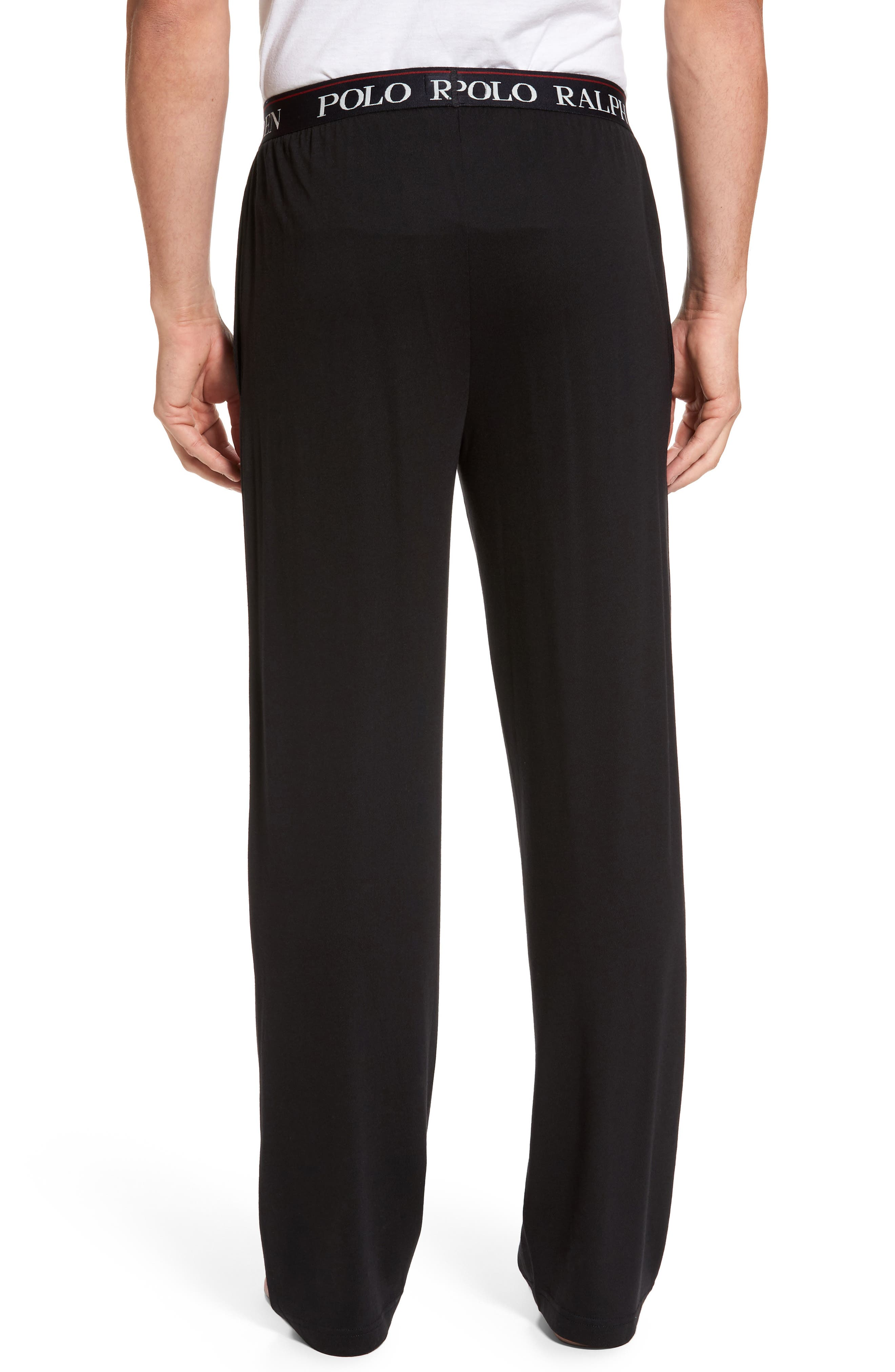 Cotton & Modal Lounge Pants,                             Alternate thumbnail 2, color,                             POLO BLACK