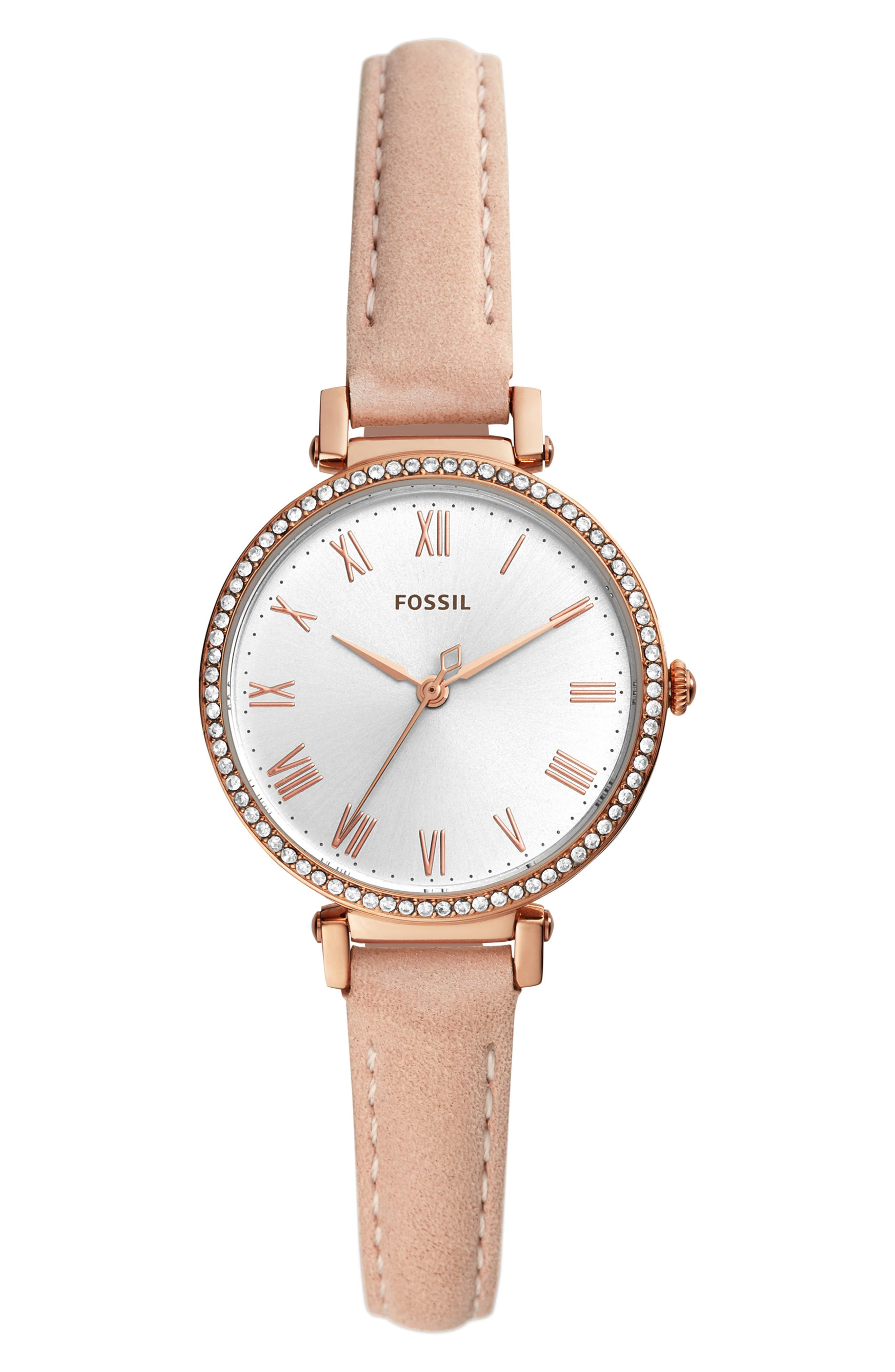 Kinsey Leather Strap Watch, 28mm, Main, color, BEIGE/ SILVER/ ROSE GOLD