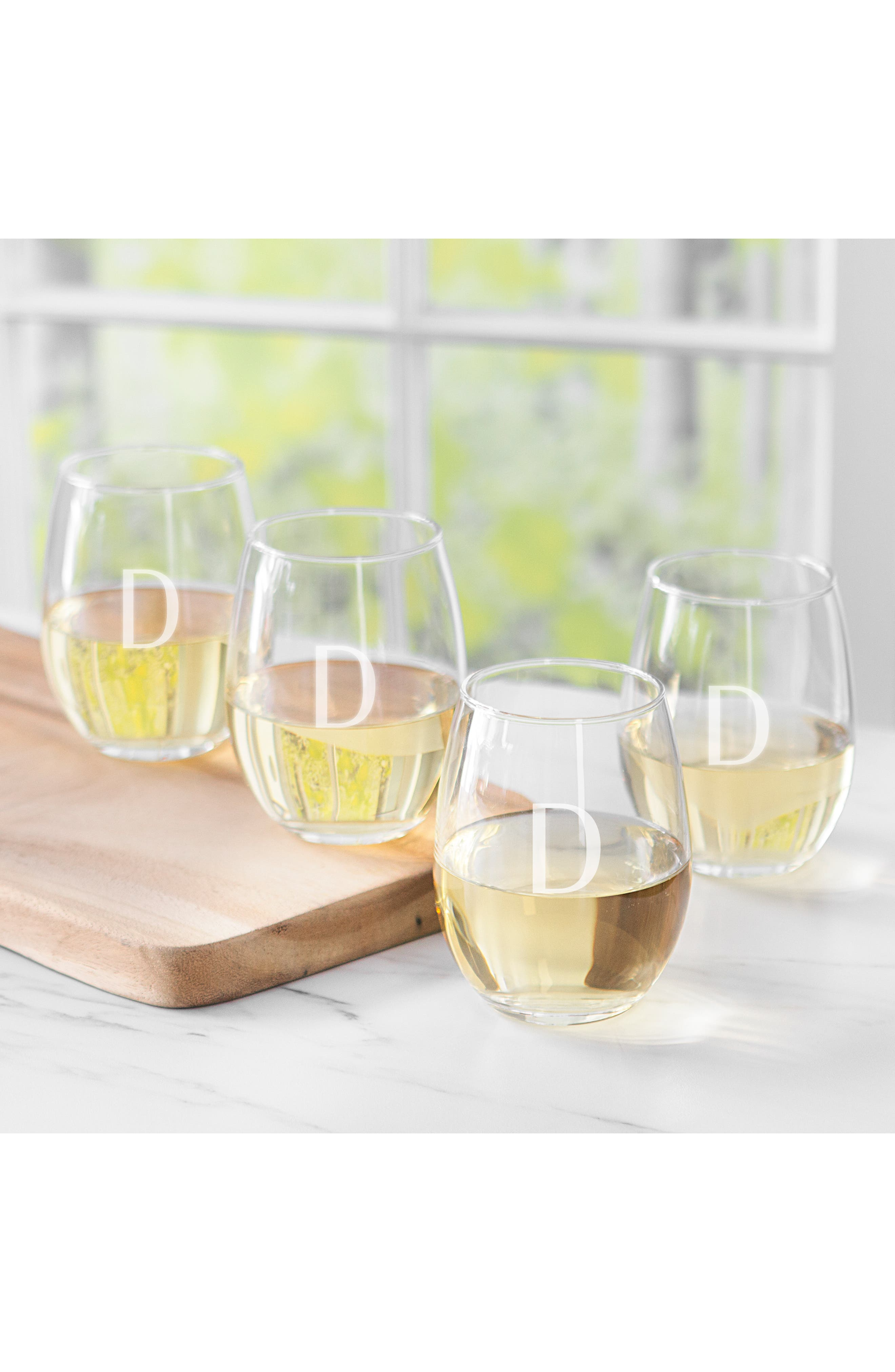 Estate Collection Set of 4 Monogram Stemless Wine Glasses,                             Alternate thumbnail 5, color,                             BLANK