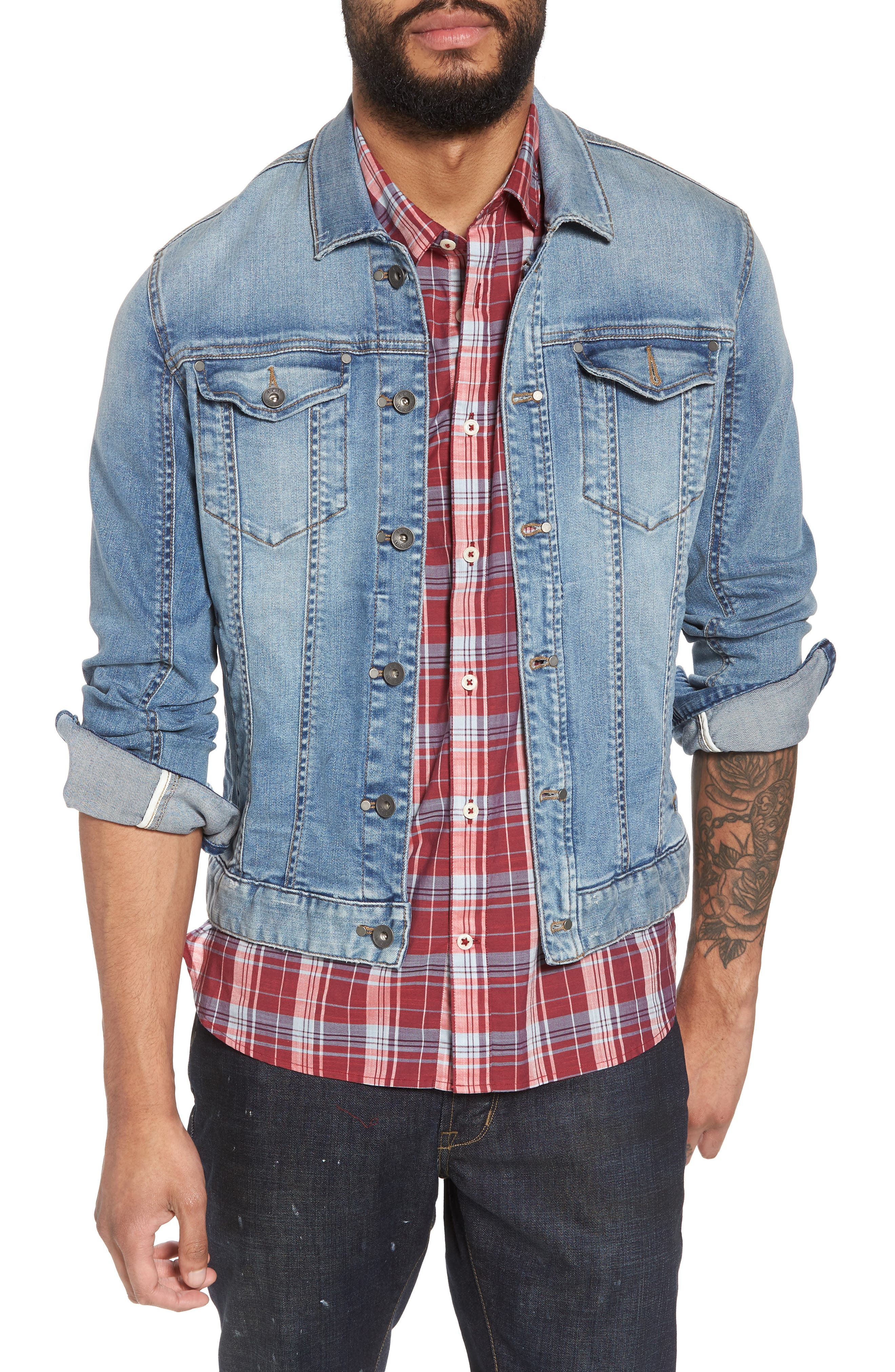 Slim Fit Denim Trucker Jacket,                         Main,                         color,