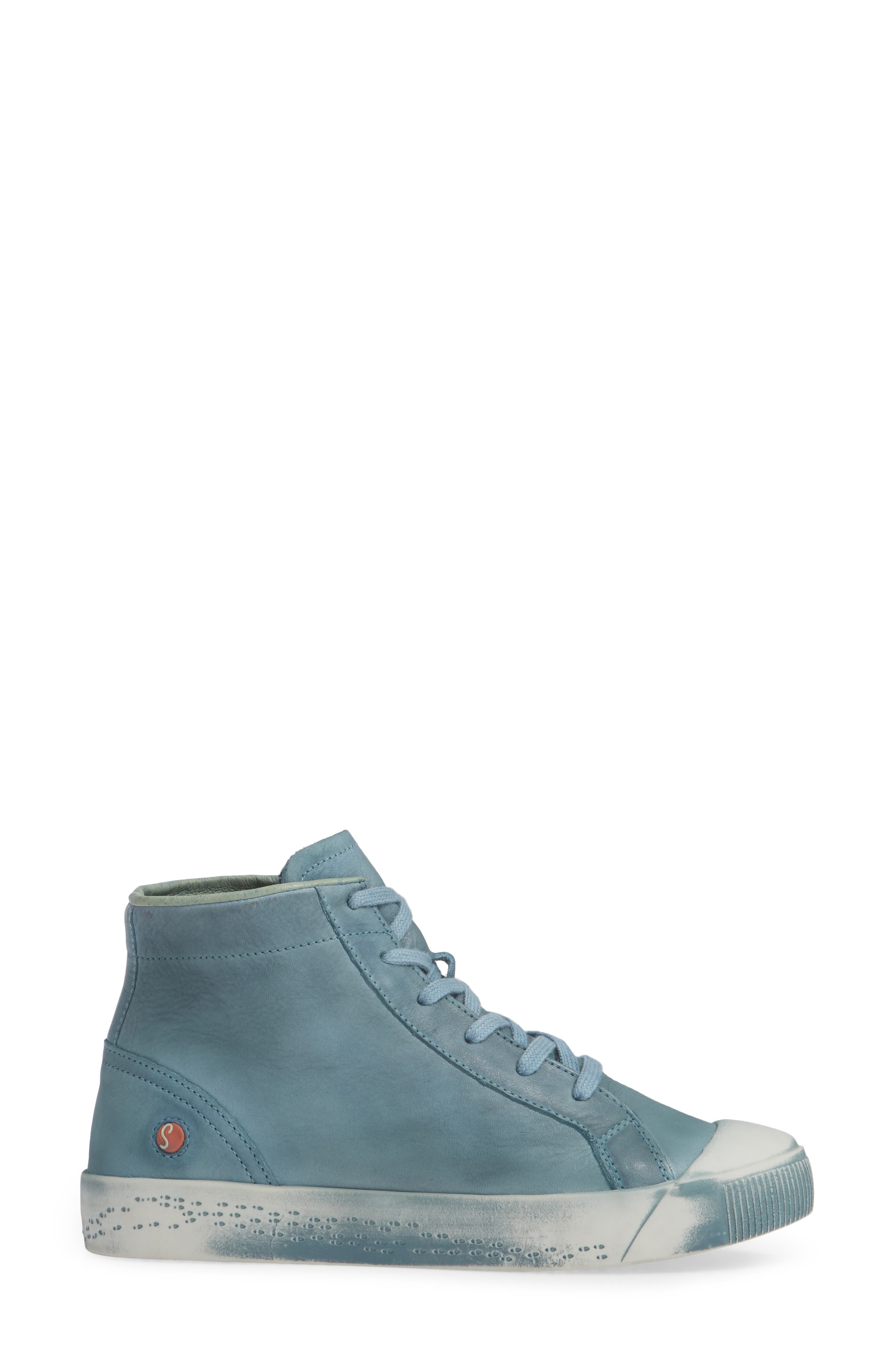 Kip High Top Sneaker,                             Alternate thumbnail 3, color,                             NUDE BLUE WASHED LEATHER