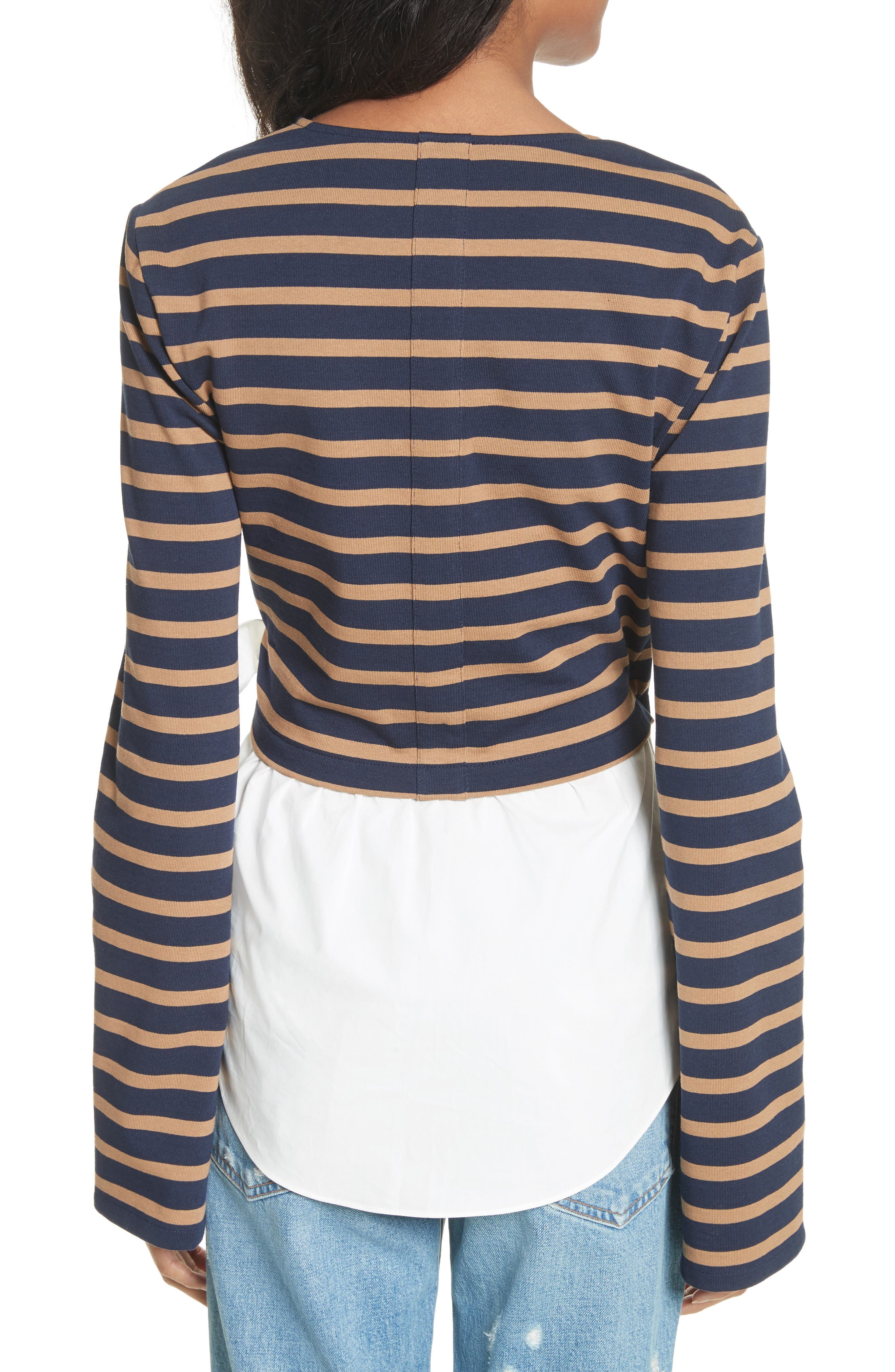 Stripe Wrap Top with Poplin Shirting Combo,                             Alternate thumbnail 2, color,                             466