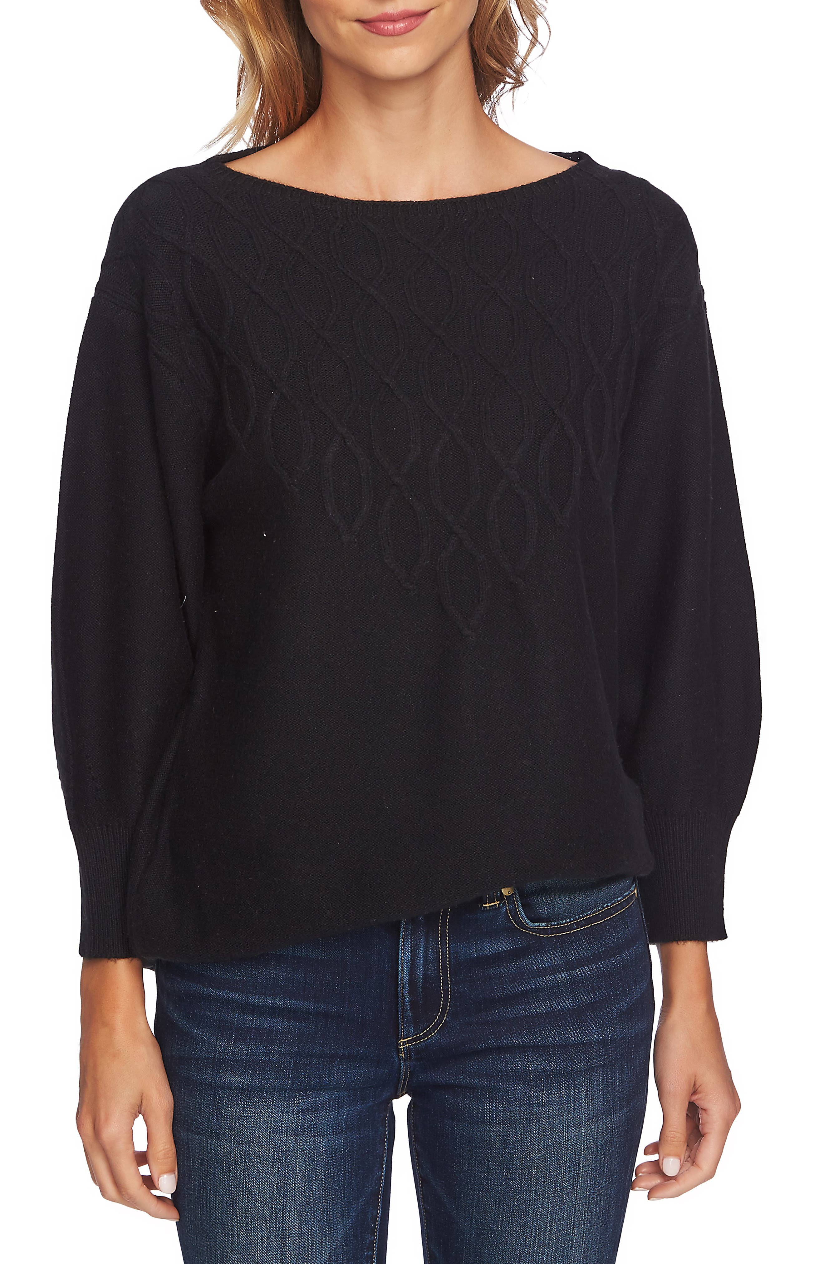 Stepped Cable Sweater,                         Main,                         color, RICH BLACK