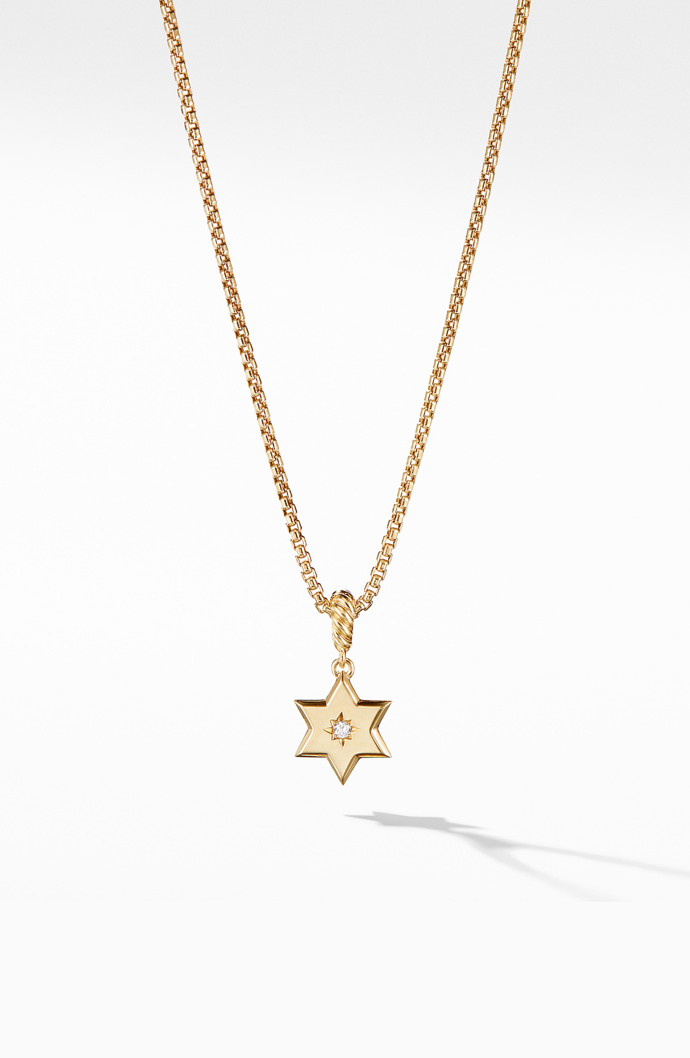 Star of David Pendant in 18K Yellow Gold with Diamonds,                             Main thumbnail 1, color,                             YELLOW GOLD/ DIAMOND