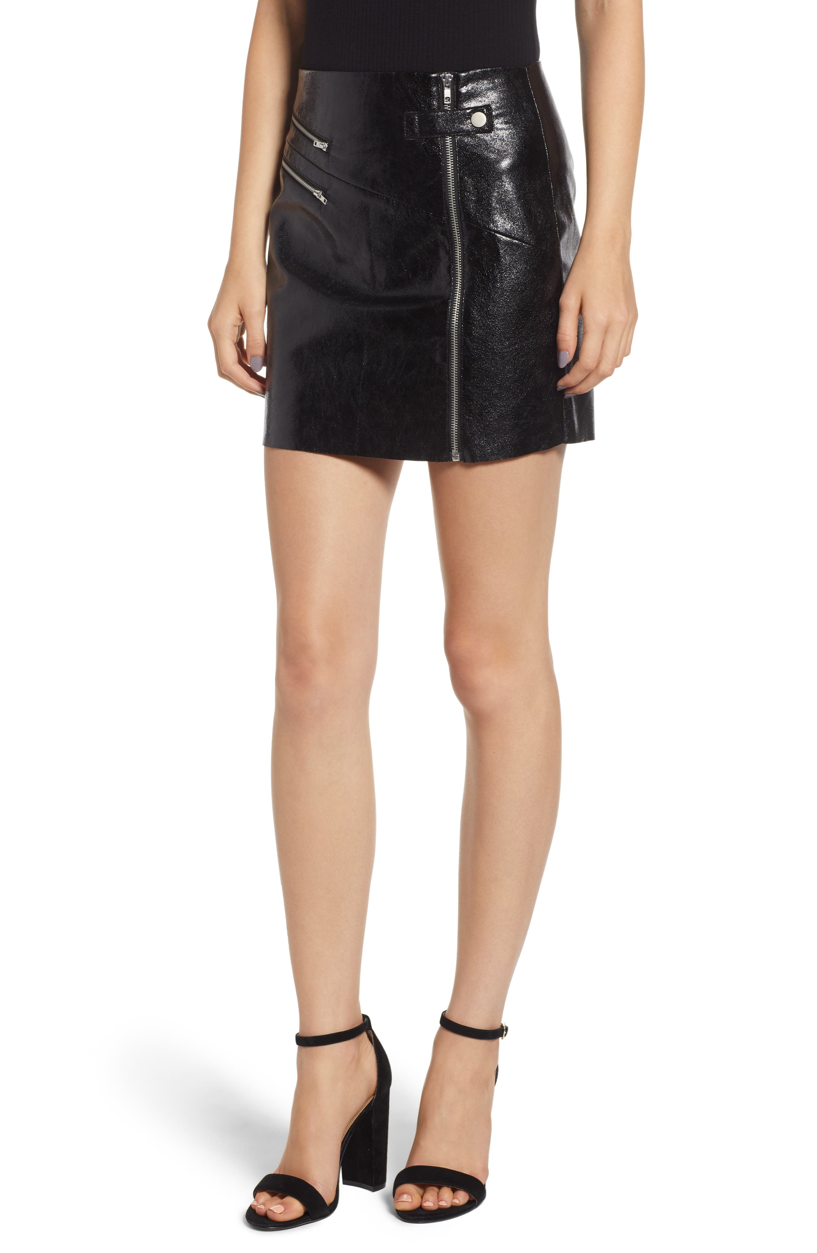 4Si3Nna Zipper Miniskirt, Black