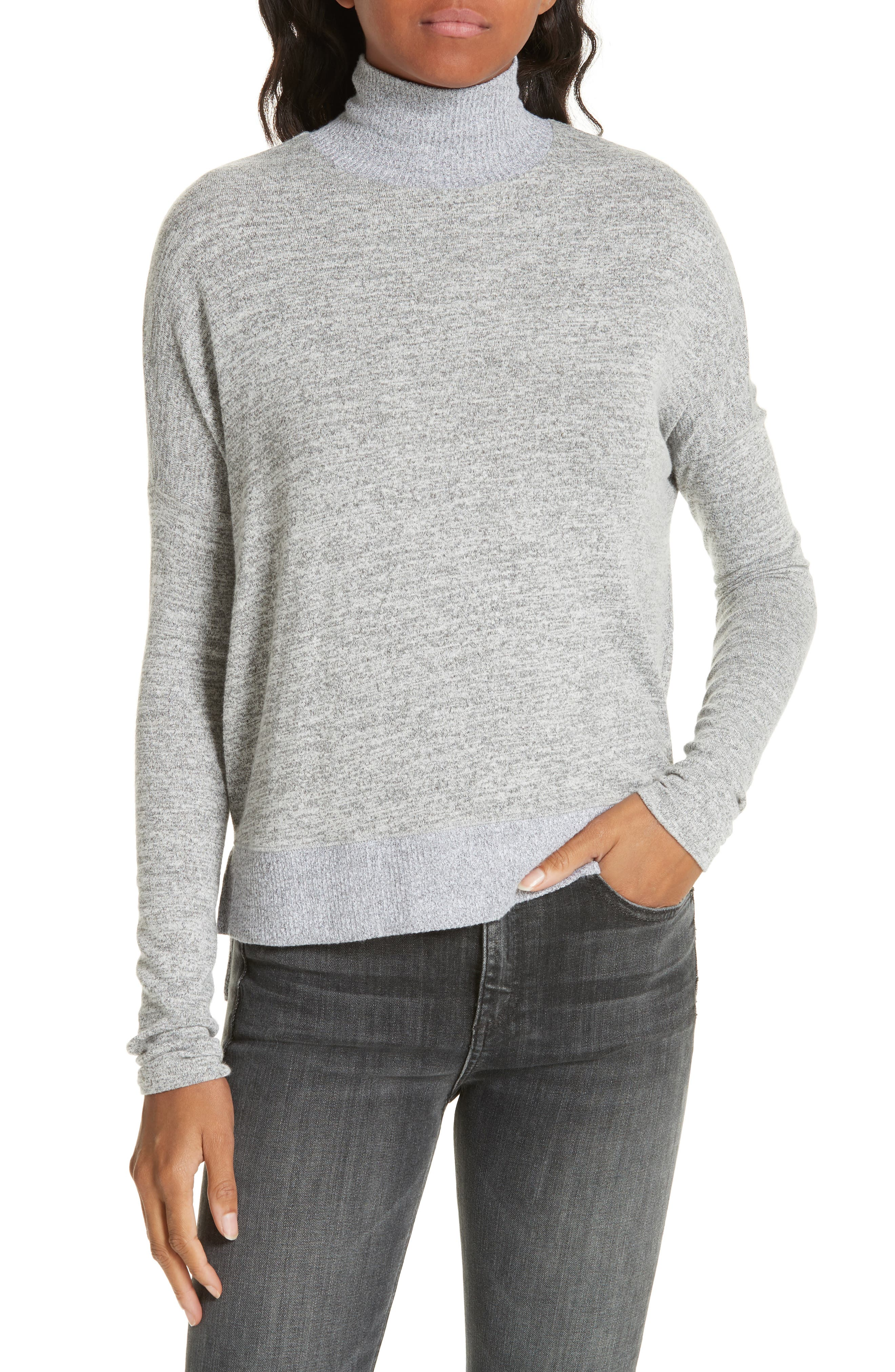 Bowery Dropped-Shoulder Button-Back Turtleneck Sweater in Light Heather Grey