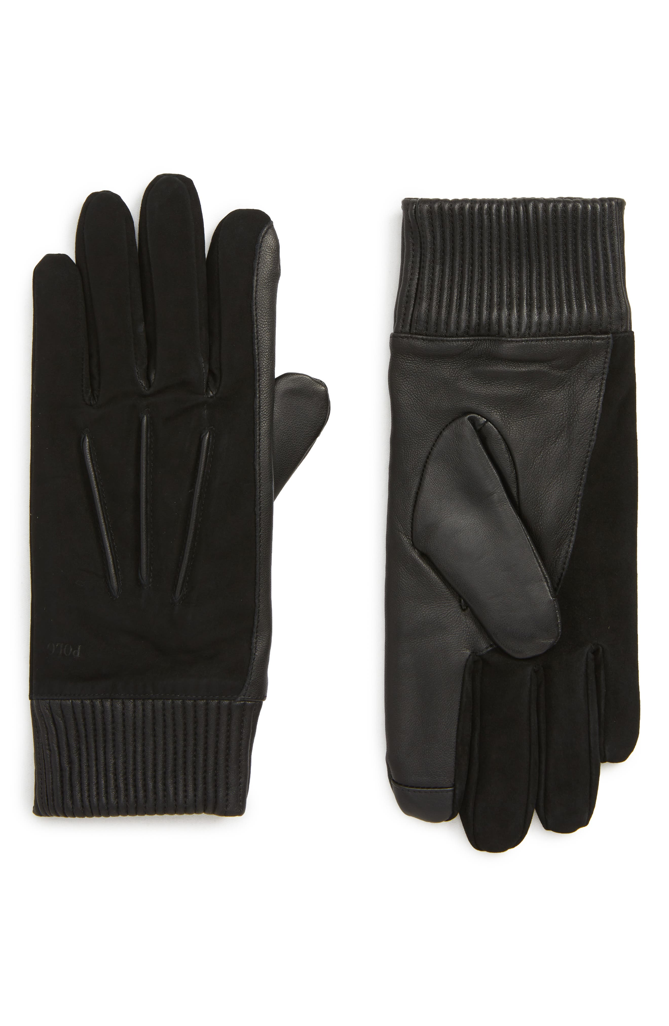 Polo Ralph Lauren Nappa Leather & Suede Gloves, Black