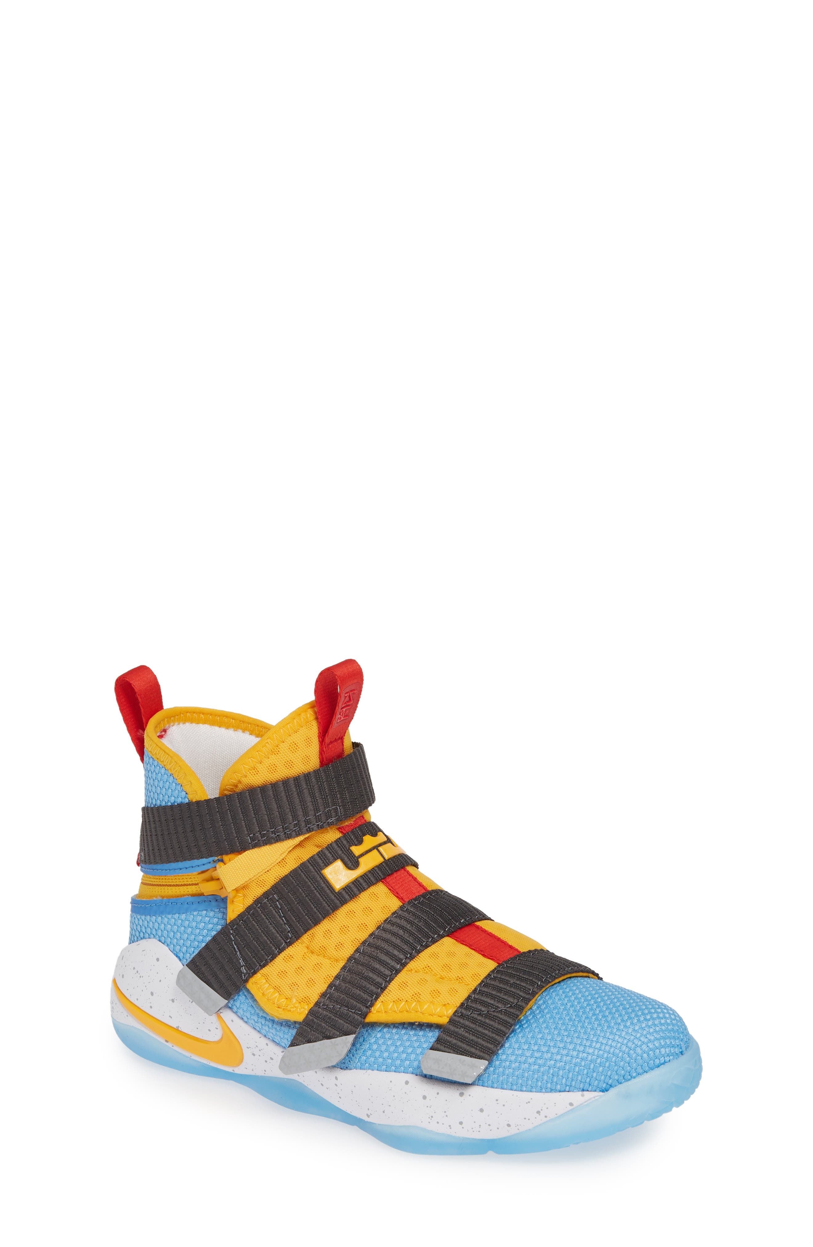 LeBron Soldier XI FlyEase High Top Sneaker, Main, color, UNIVERSITY GOLD/ WHITE-RED