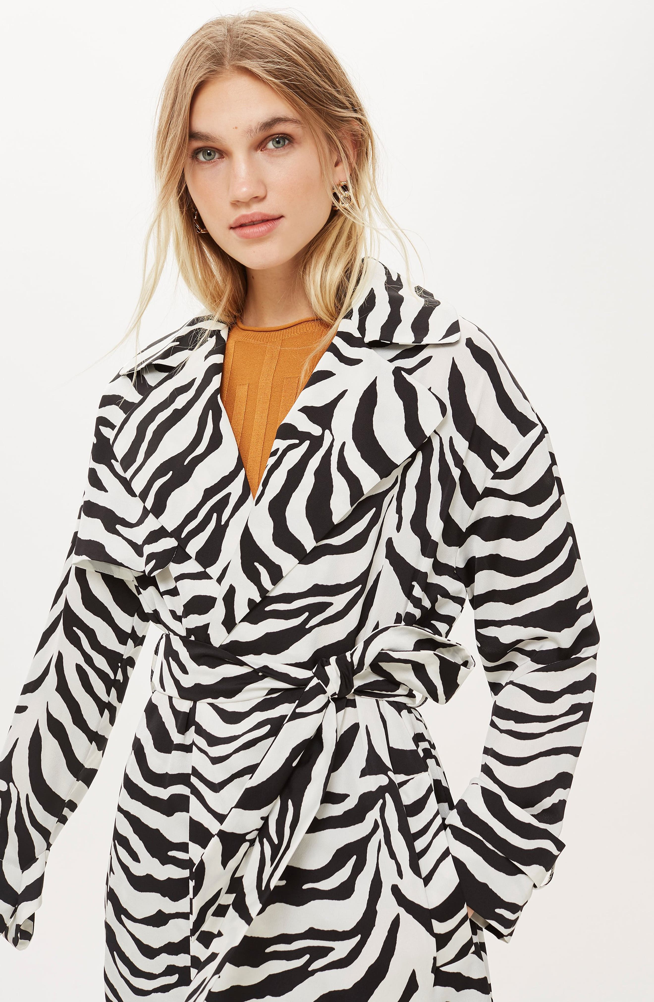 Zebra Print Duster Jacket,                             Alternate thumbnail 6, color,                             100