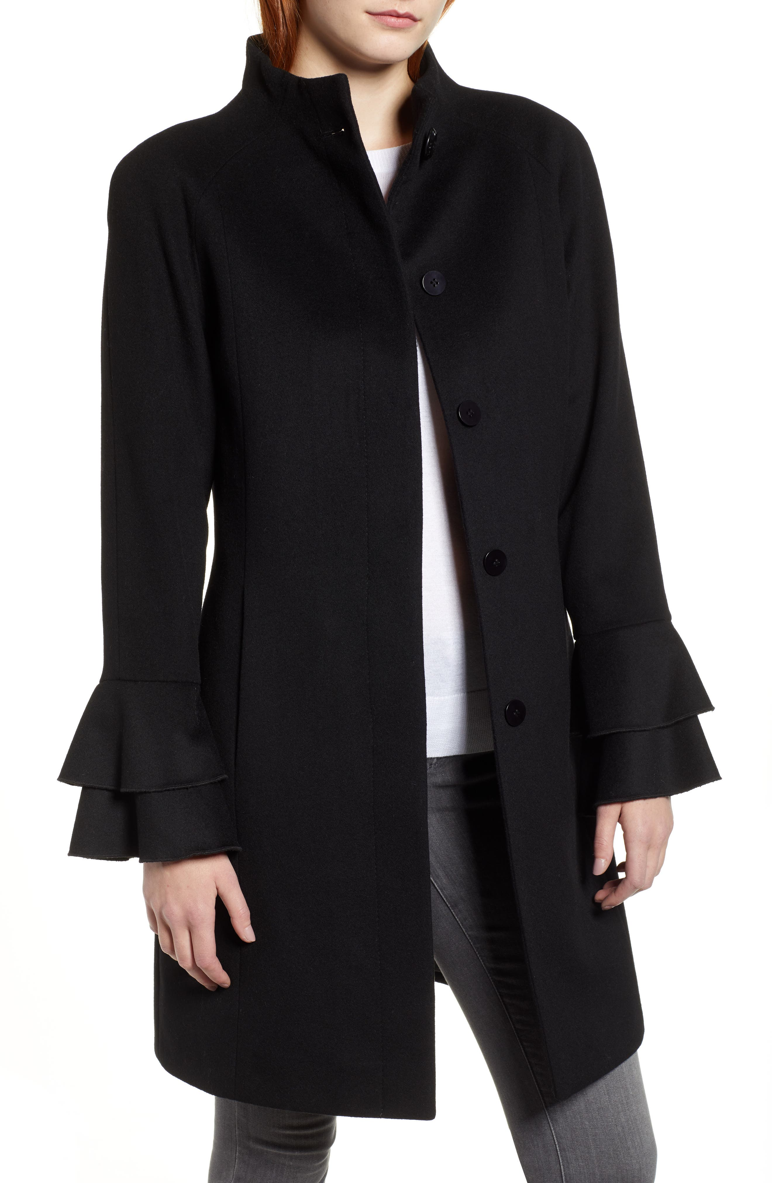 TRINA TURK,                             Sara Ruffle Cuff Wool Blend Coat,                             Main thumbnail 1, color,                             001