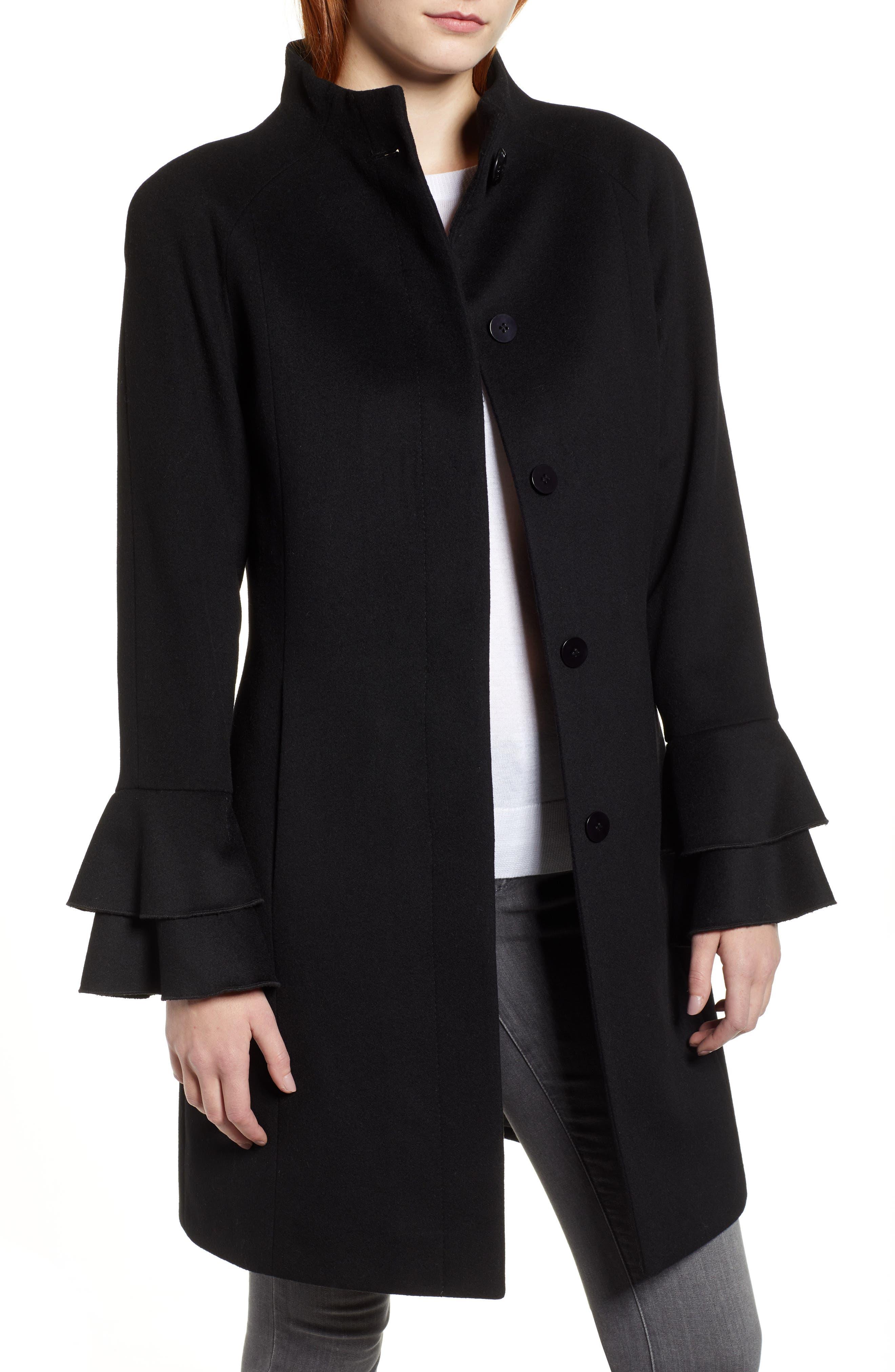 Sara Ruffle Cuff Wool Blend Coat,                         Main,                         color, BLACK