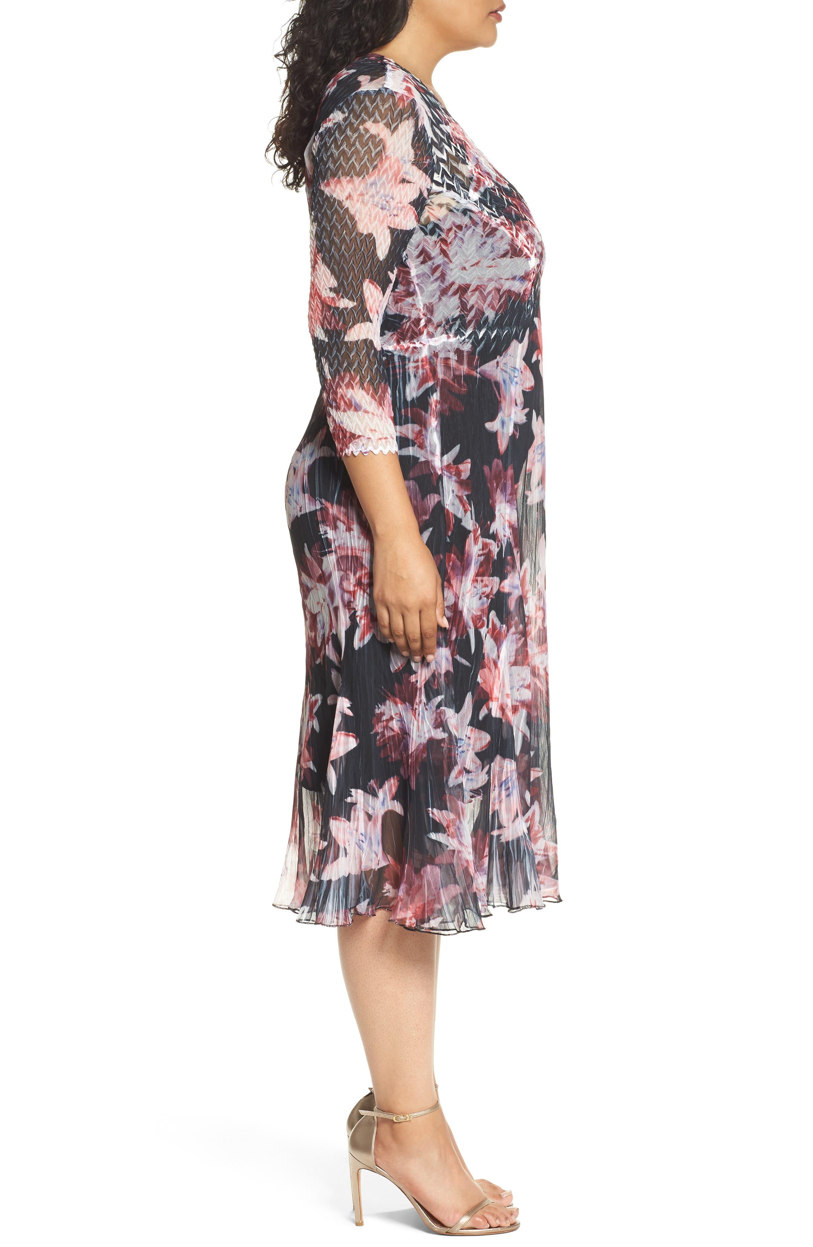 Chiffon & Charmeuse A-Line Dress,                             Alternate thumbnail 3, color,                             014