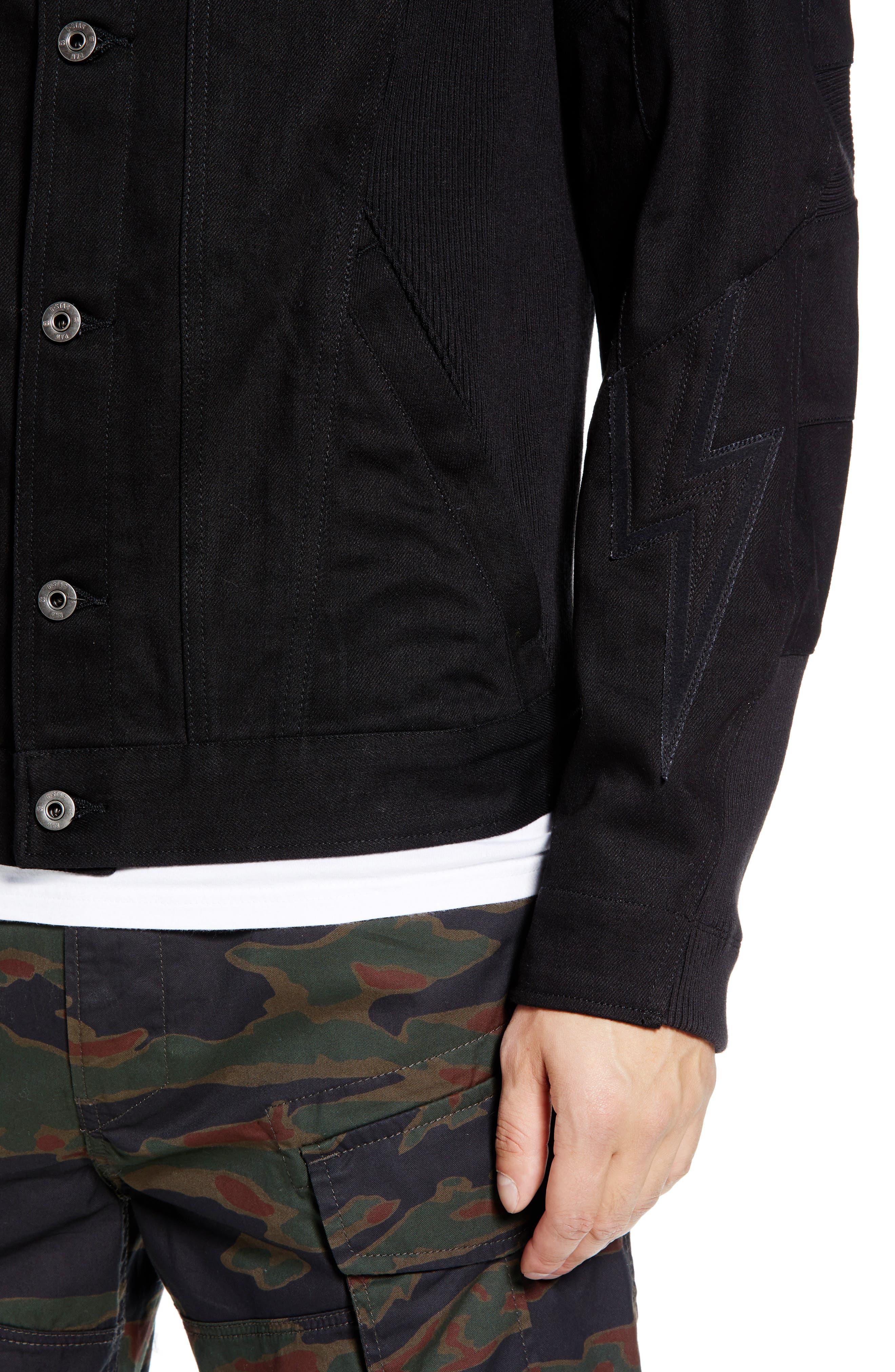 Motac-X Moto Uni Slim Cotton Denim Jacket,                             Alternate thumbnail 4, color,                             RAW DENIM