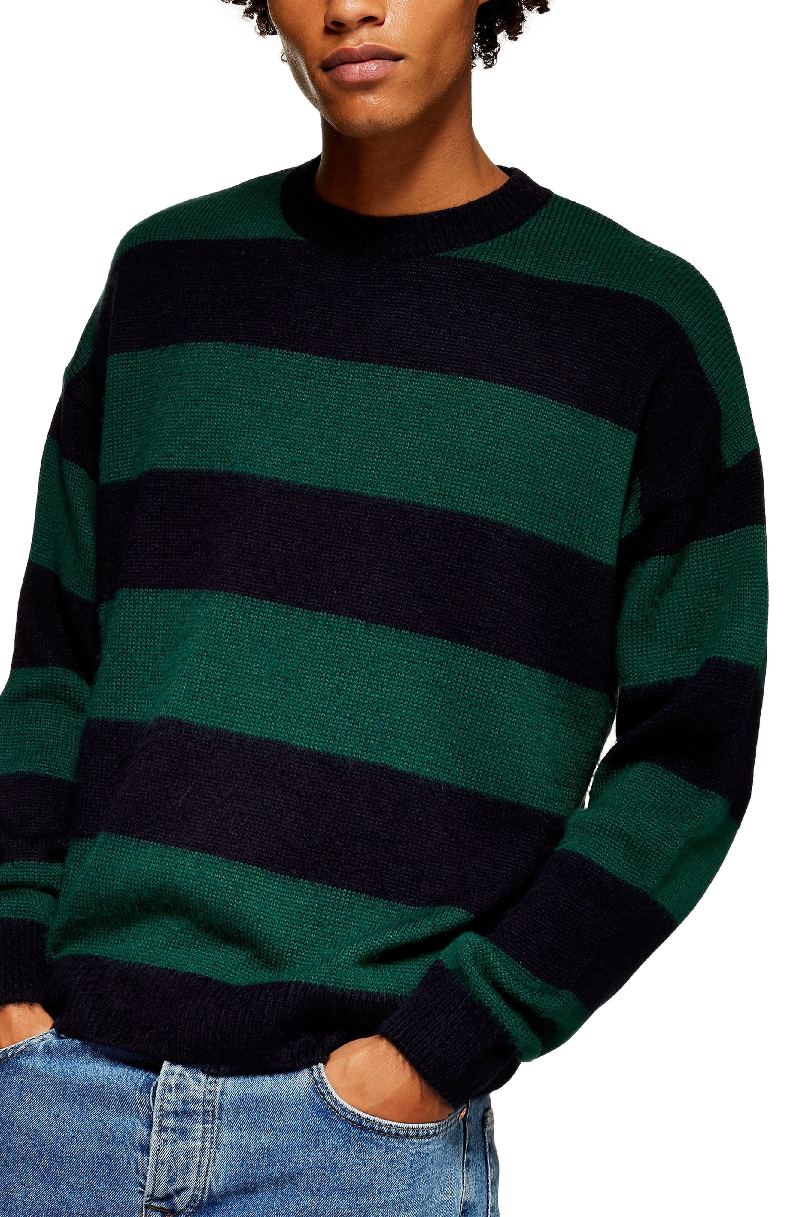 Block Stripe Classic Fit Sweater,                         Main,                         color, GREEN MULTI