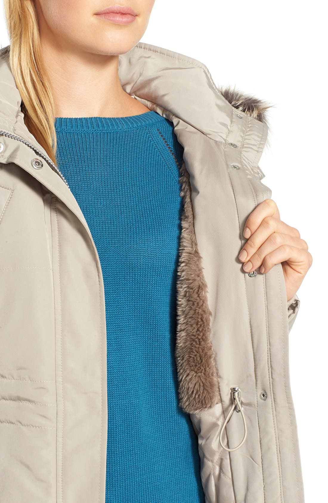 BCBGENERATION,                             FauxFur Trim Hooded Quilted Coat,                             Alternate thumbnail 5, color,                             275