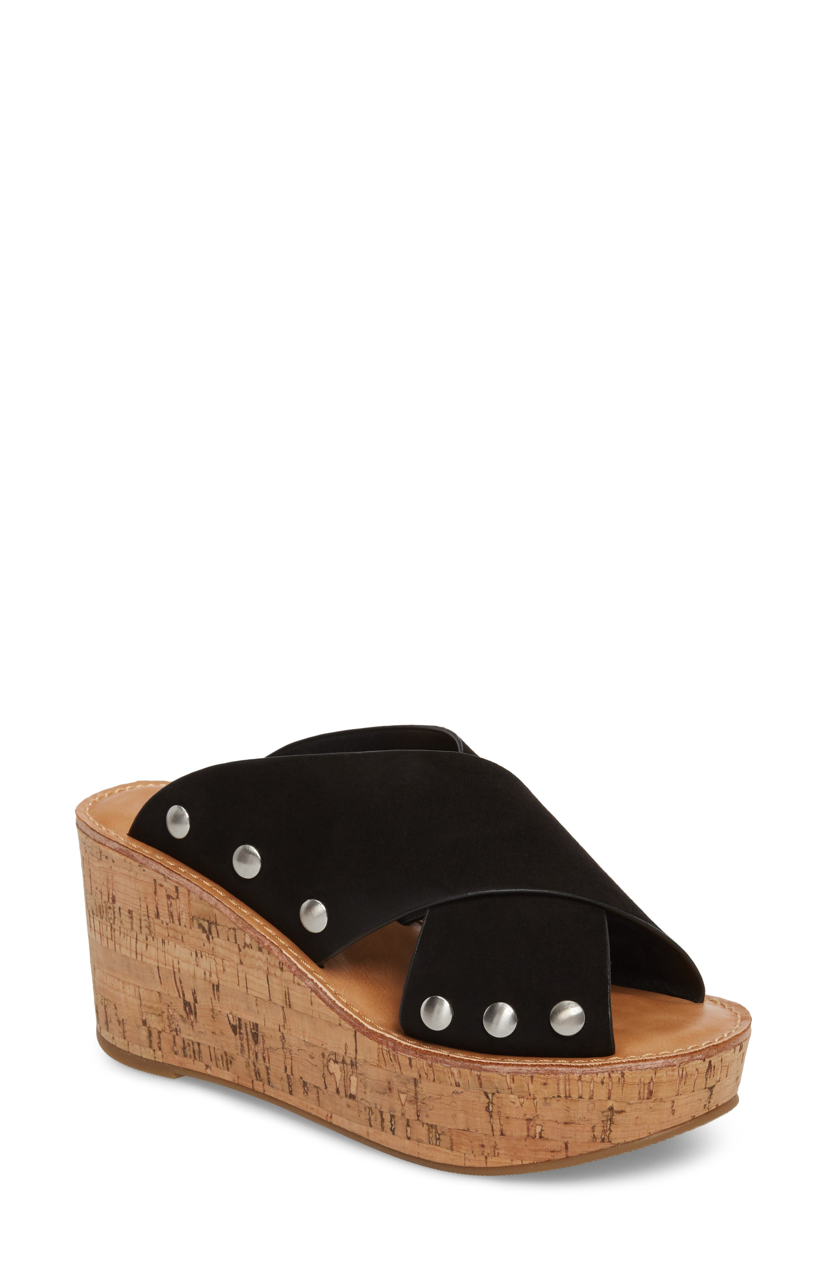 Oahu Platform Wedge Sandal,                             Main thumbnail 1, color,                             BLACK