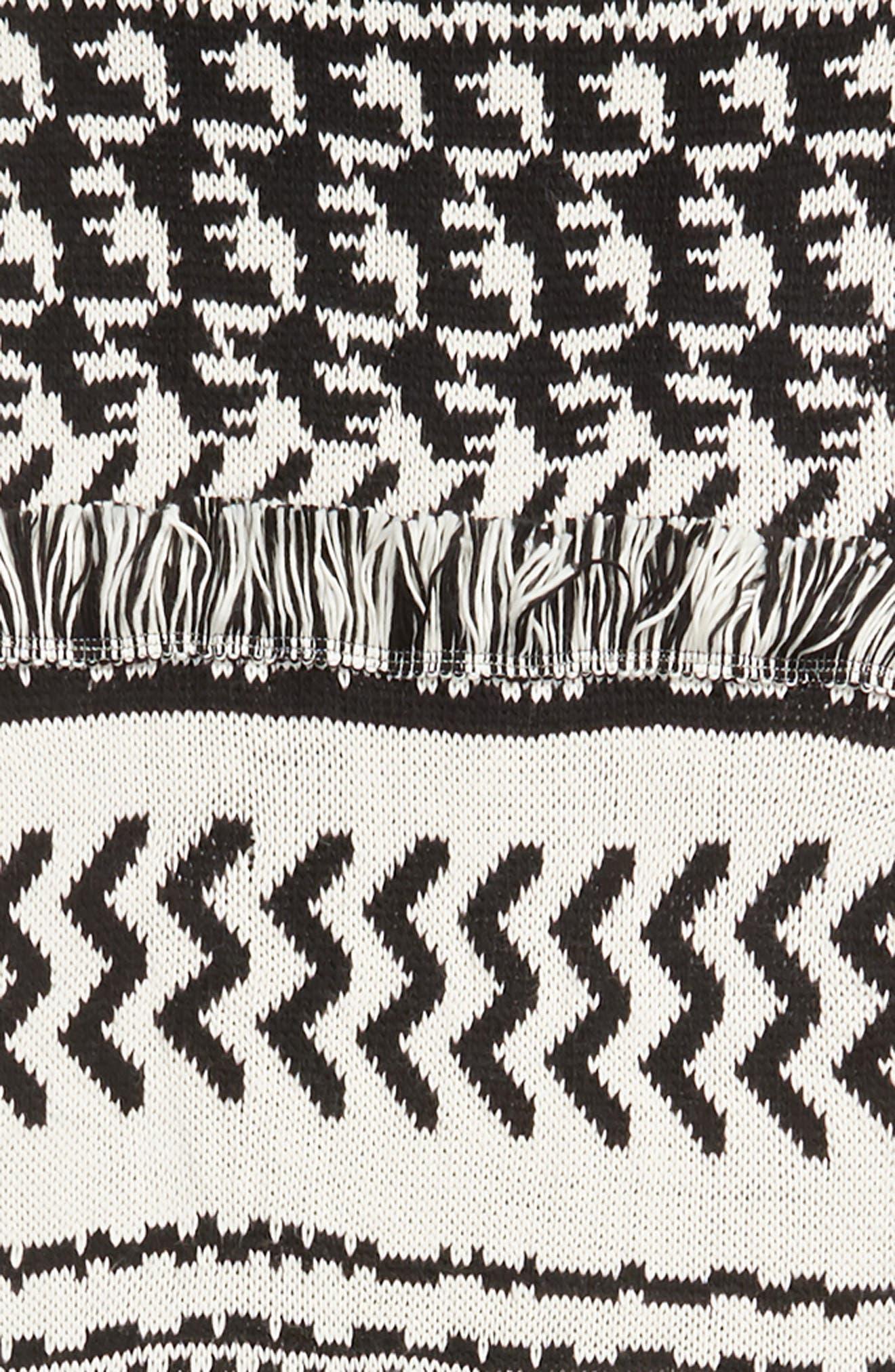 Mile High Fleece Fringe Scarf,                             Alternate thumbnail 4, color,                             BLACK AND WHITE COMBO