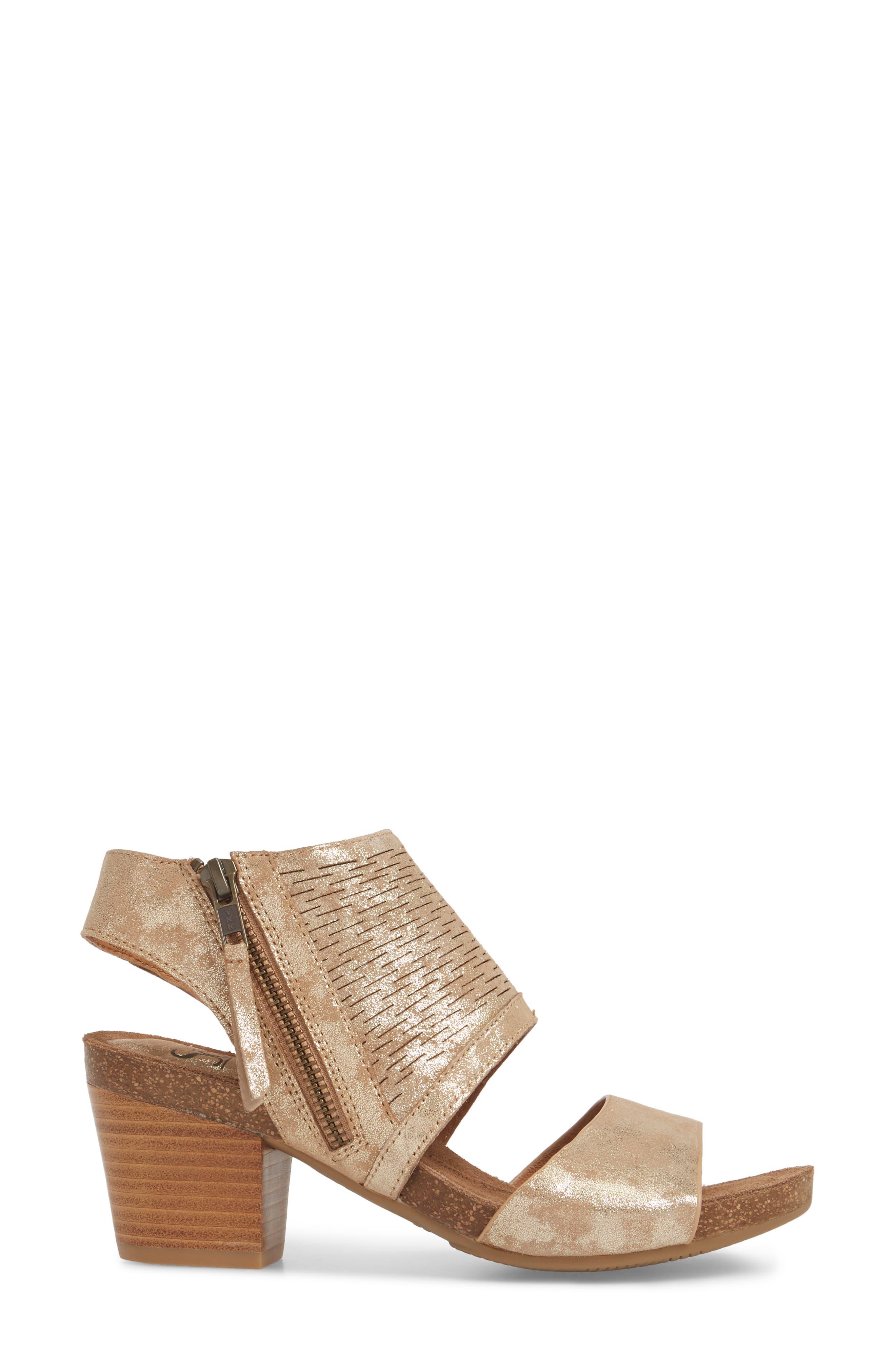Milan Block Heel Sandal,                             Alternate thumbnail 3, color,                             PLATINO DISTRESSED FOIL SUEDE