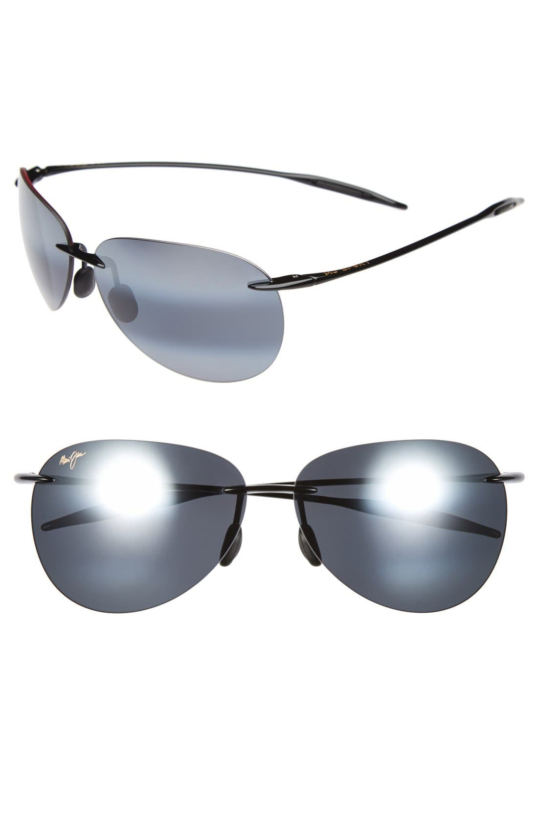 Sugar Beach 62mm PolarizedPlus2<sup>®</sup> Rimless Sunglasses,                         Main,                         color, GLOSS BLACK/ NEUTRAL GREY
