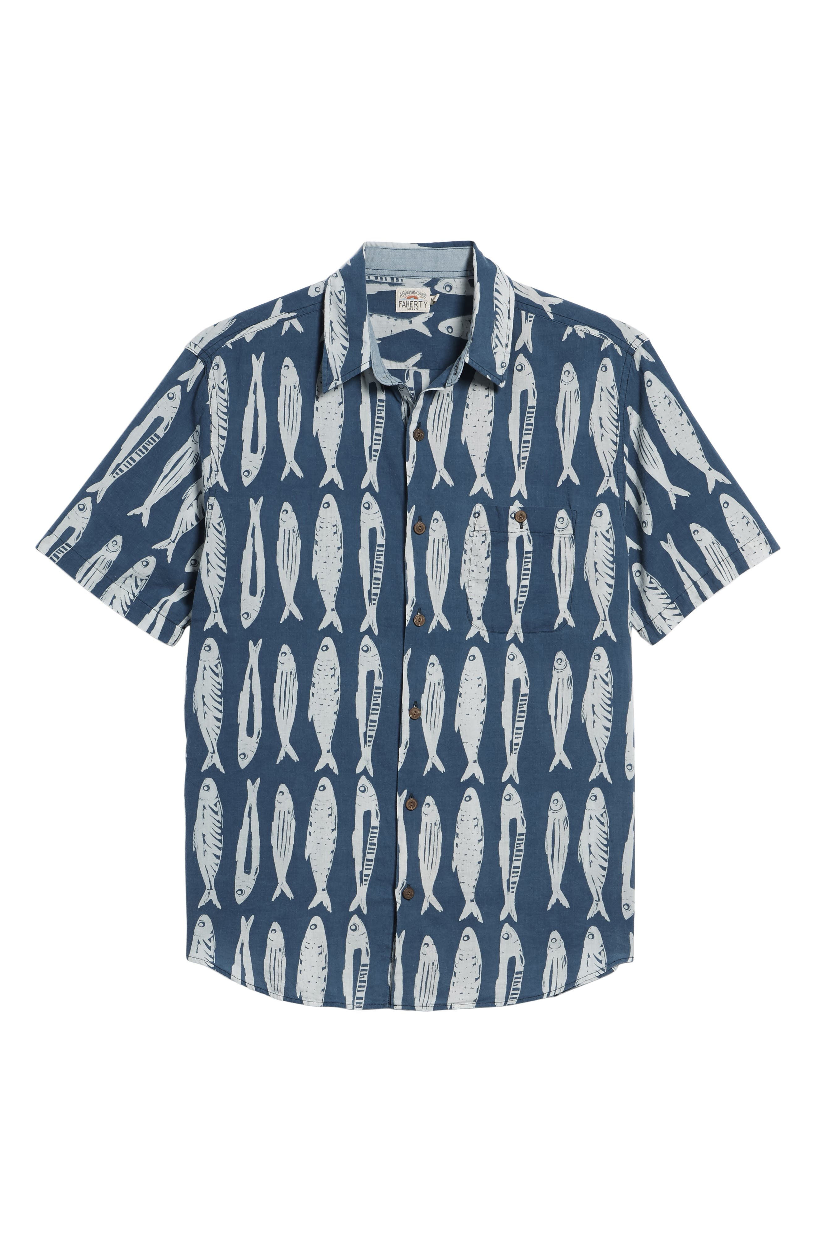 FAHERTY,                             Coast Fish Print Sport Shirt,                             Alternate thumbnail 6, color,                             400