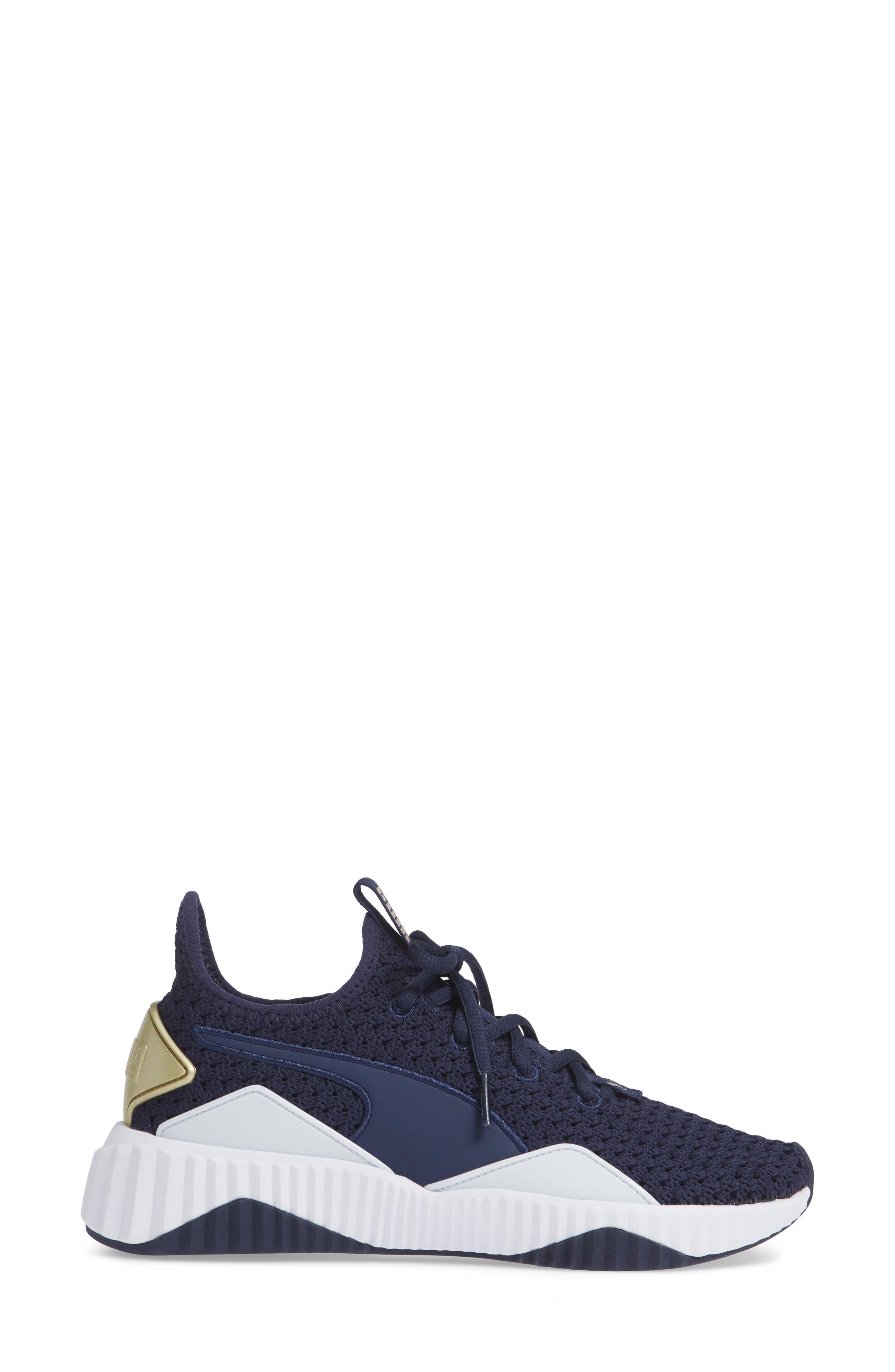 Defy Varsity Sneaker,                             Alternate thumbnail 3, color,                             BLUE/ METALLIC GOLD