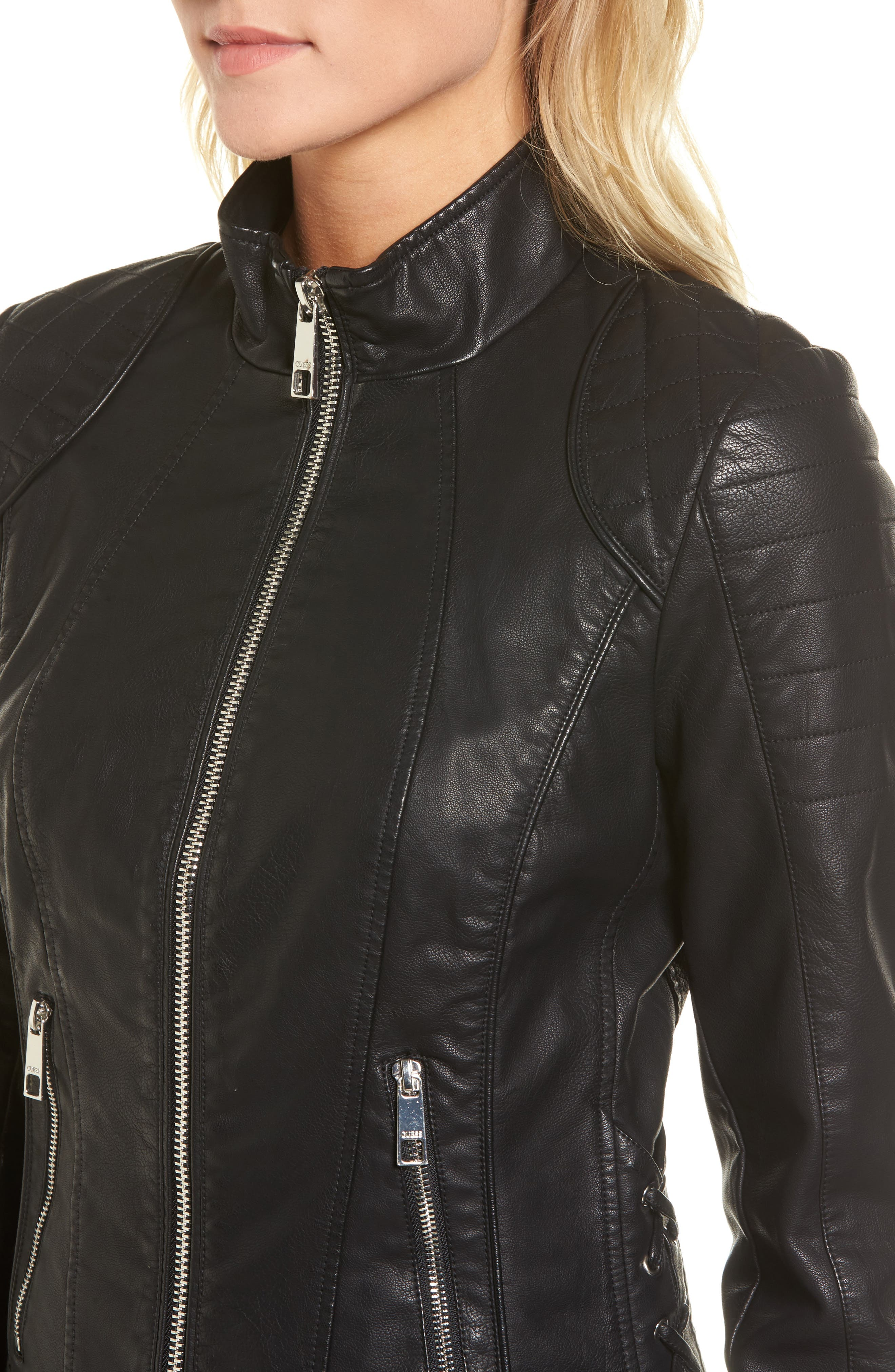 GUESS,                             Side Lace Faux Leather Jacket,                             Alternate thumbnail 4, color,                             001