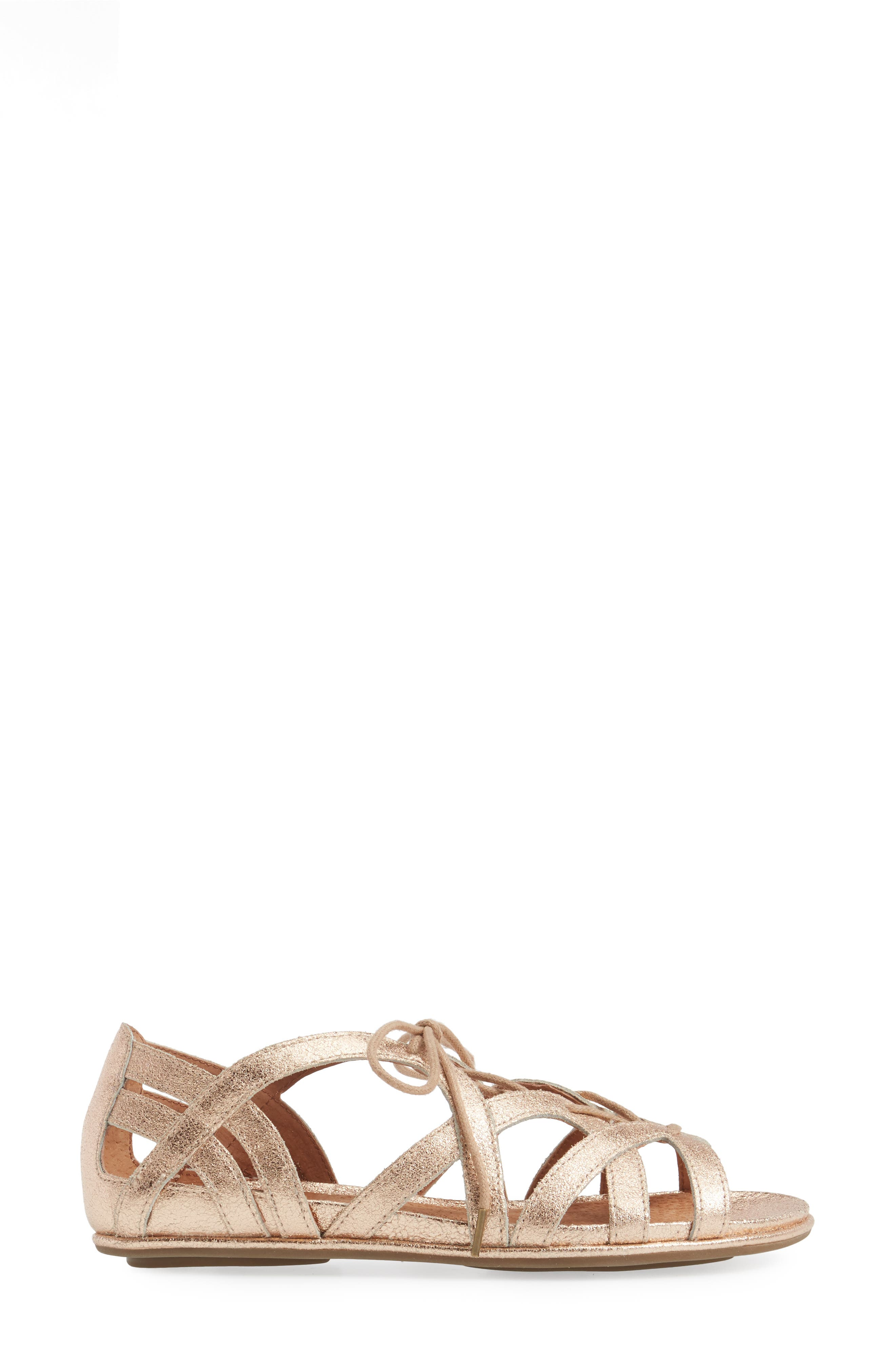 Orly Lace-Up Sandal,                             Alternate thumbnail 3, color,                             ROSE GOLD LEATHER