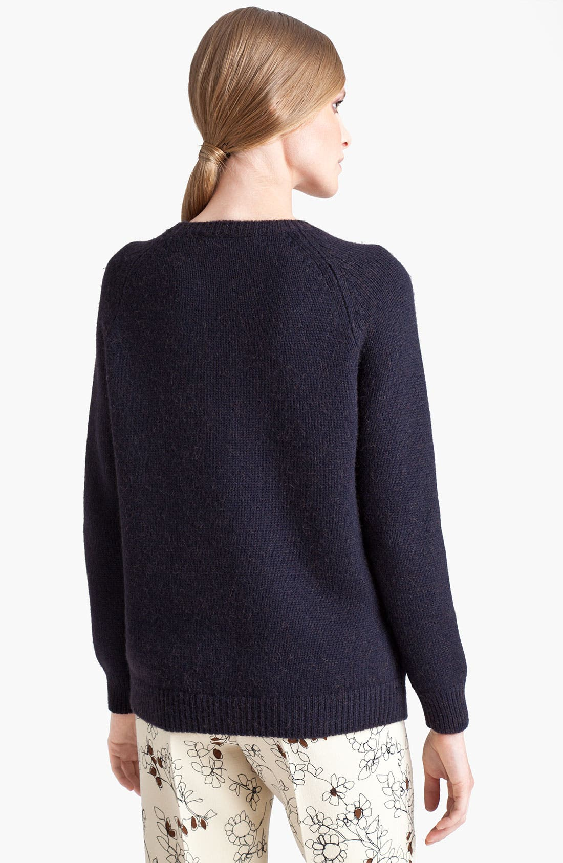 Leather Front Sweater,                             Alternate thumbnail 3, color,                             010