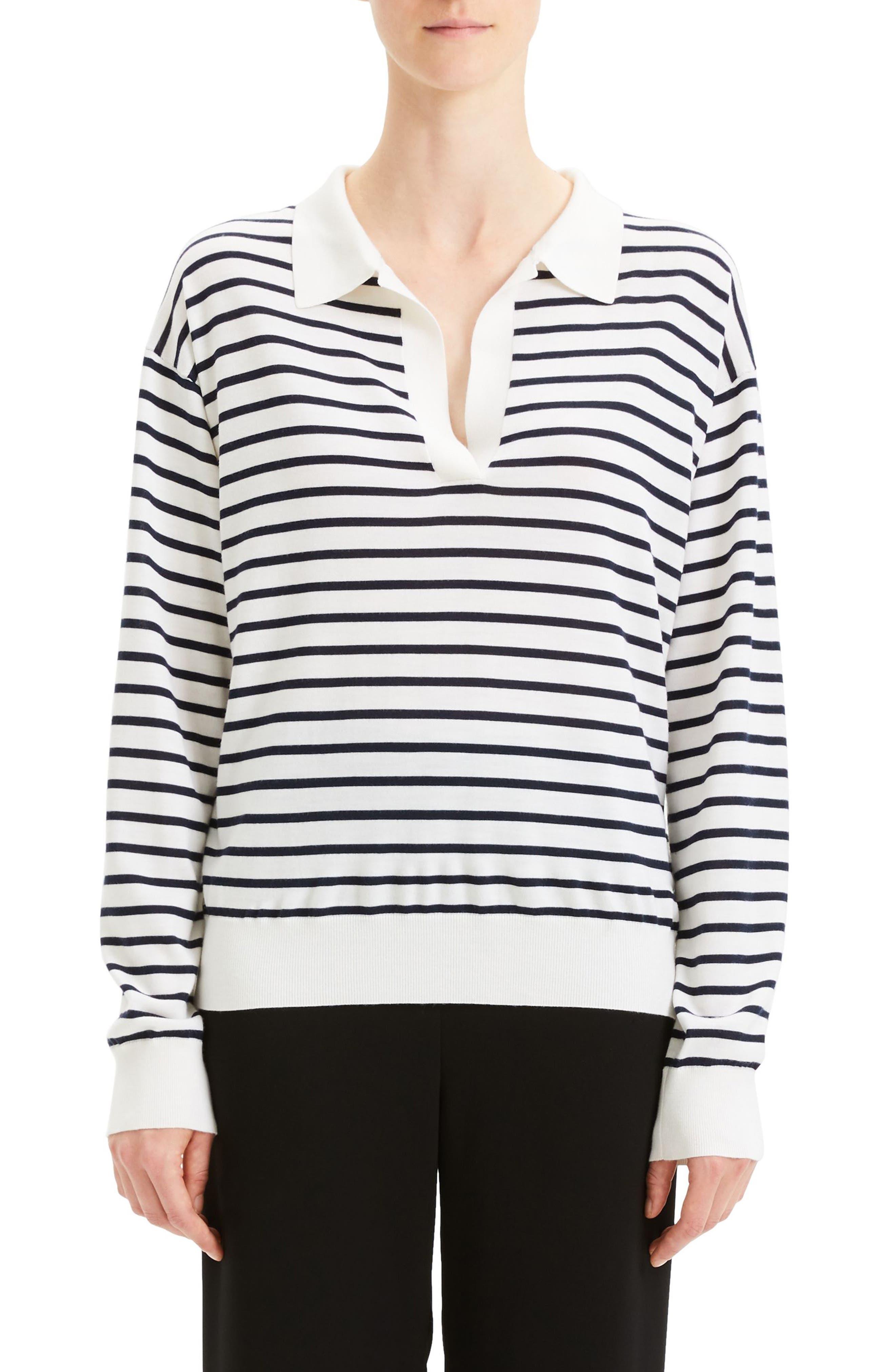 Theory Stripe Merino Wool & Silk Sweater, Size Petite - Ivory