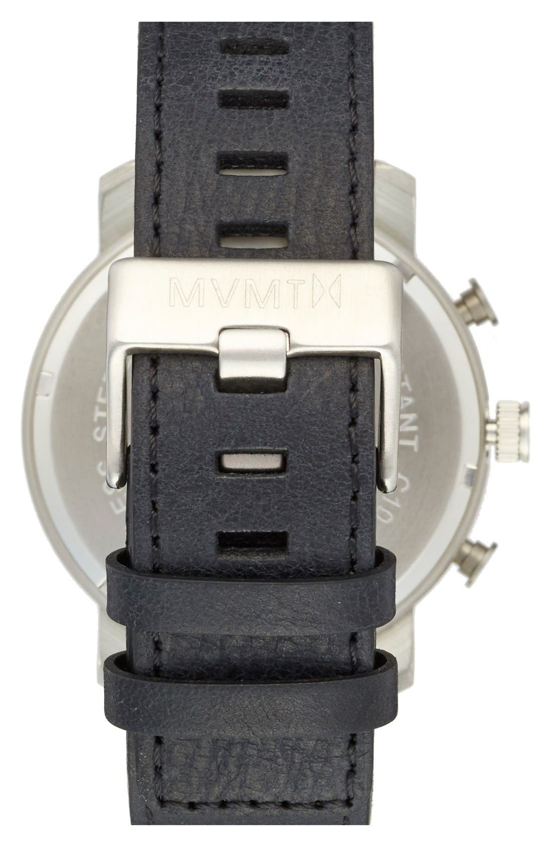Chronograph Leather Strap Watch, 45mm,                             Alternate thumbnail 2, color,                             007