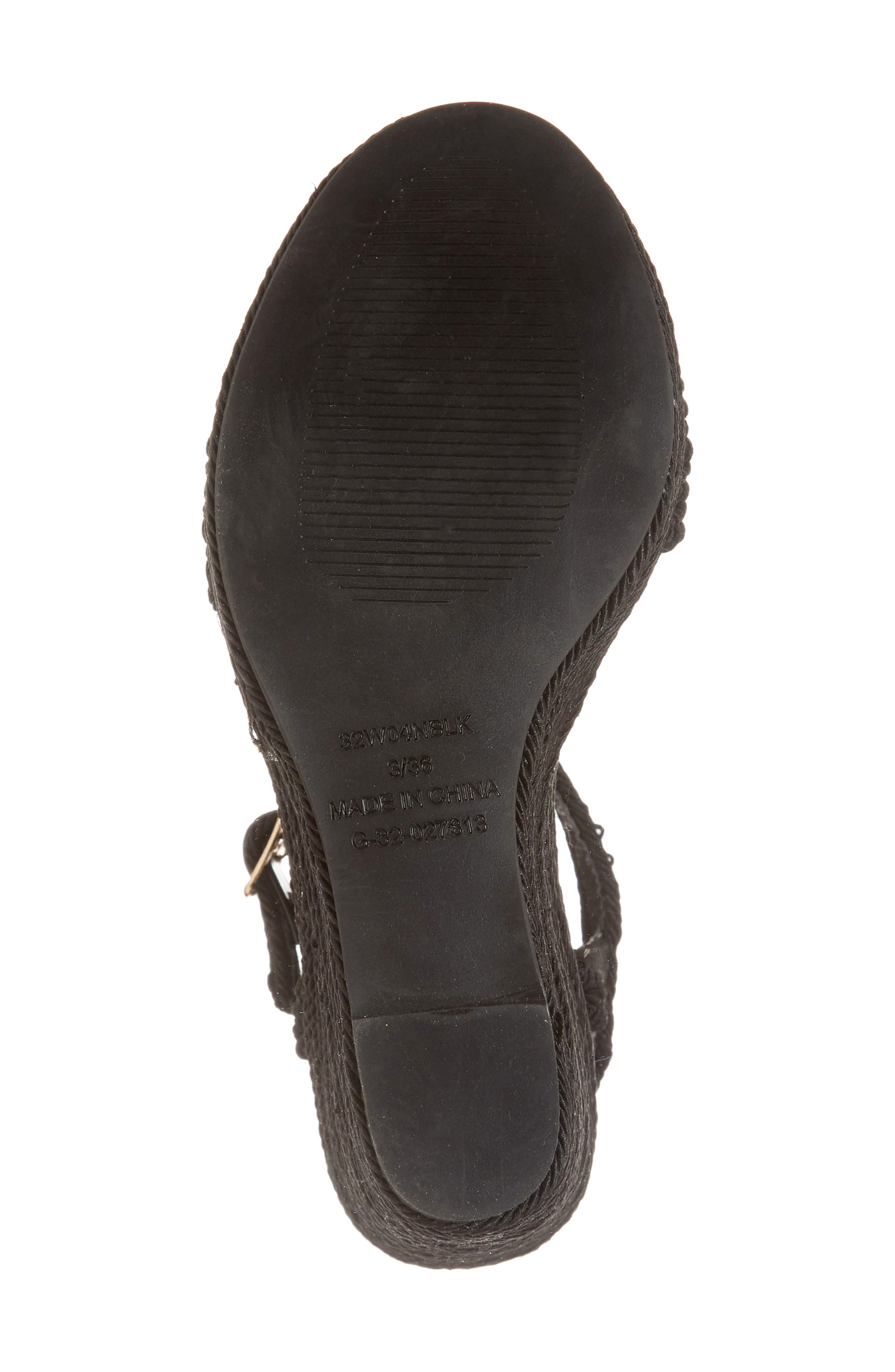 Wild Rope Platform Wedge Sandal,                             Alternate thumbnail 6, color,                             BLACK MULTI