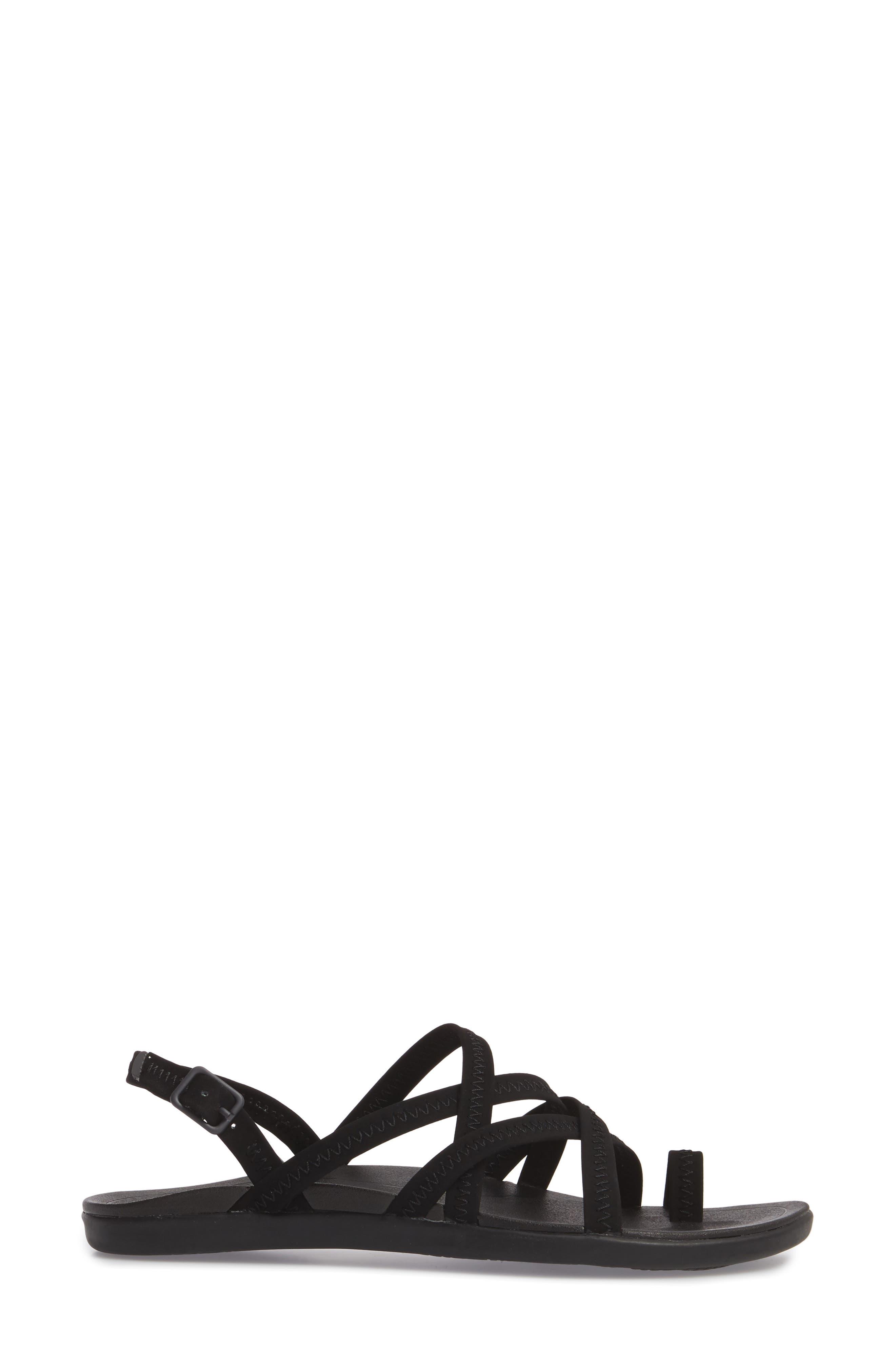 Kalapu Sandal,                             Alternate thumbnail 3, color,                             BLACK/ BLACK FAUX LEATHER