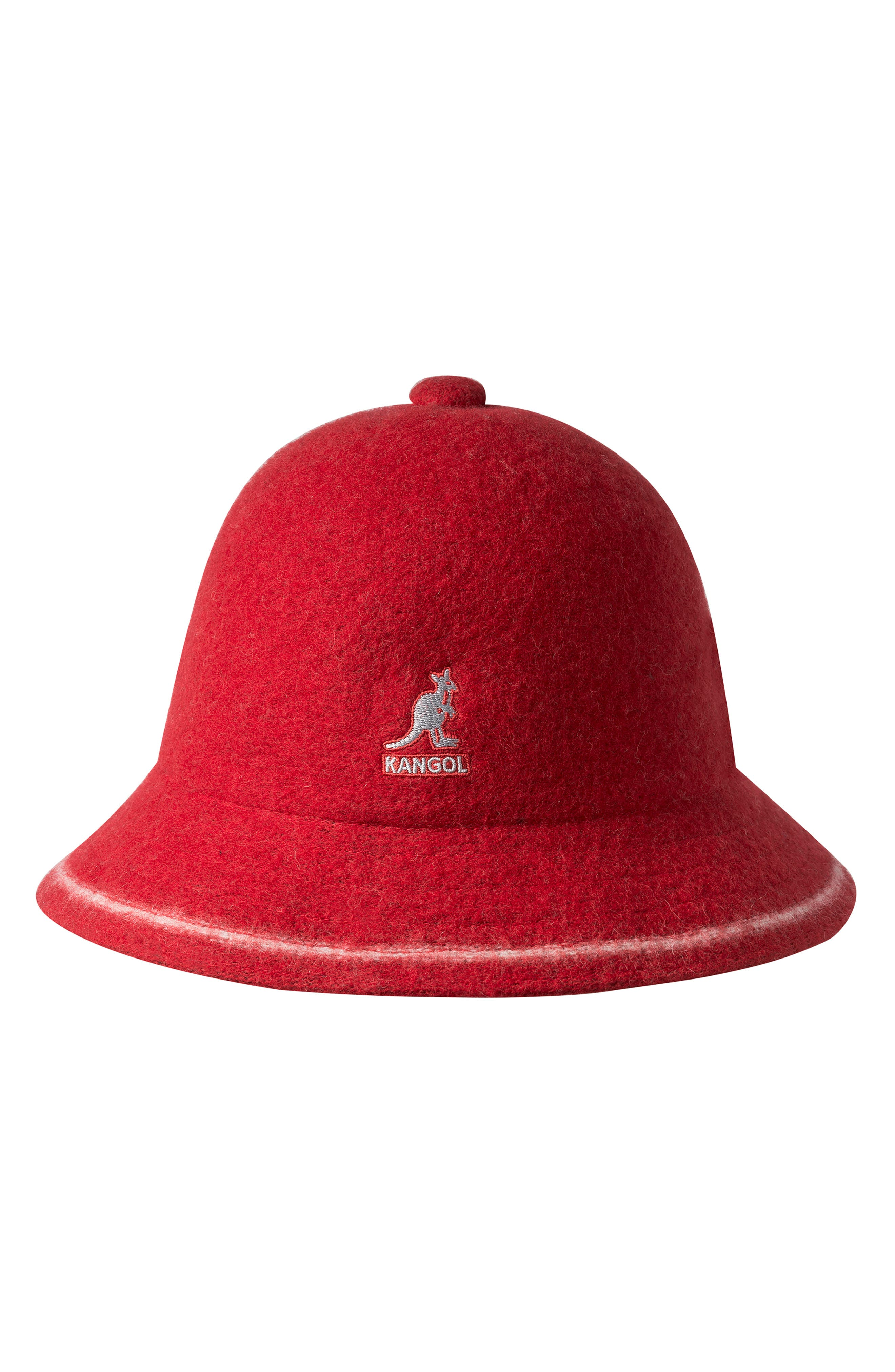 KANGOL Cloche Hat - Red in Red/ Off Wht