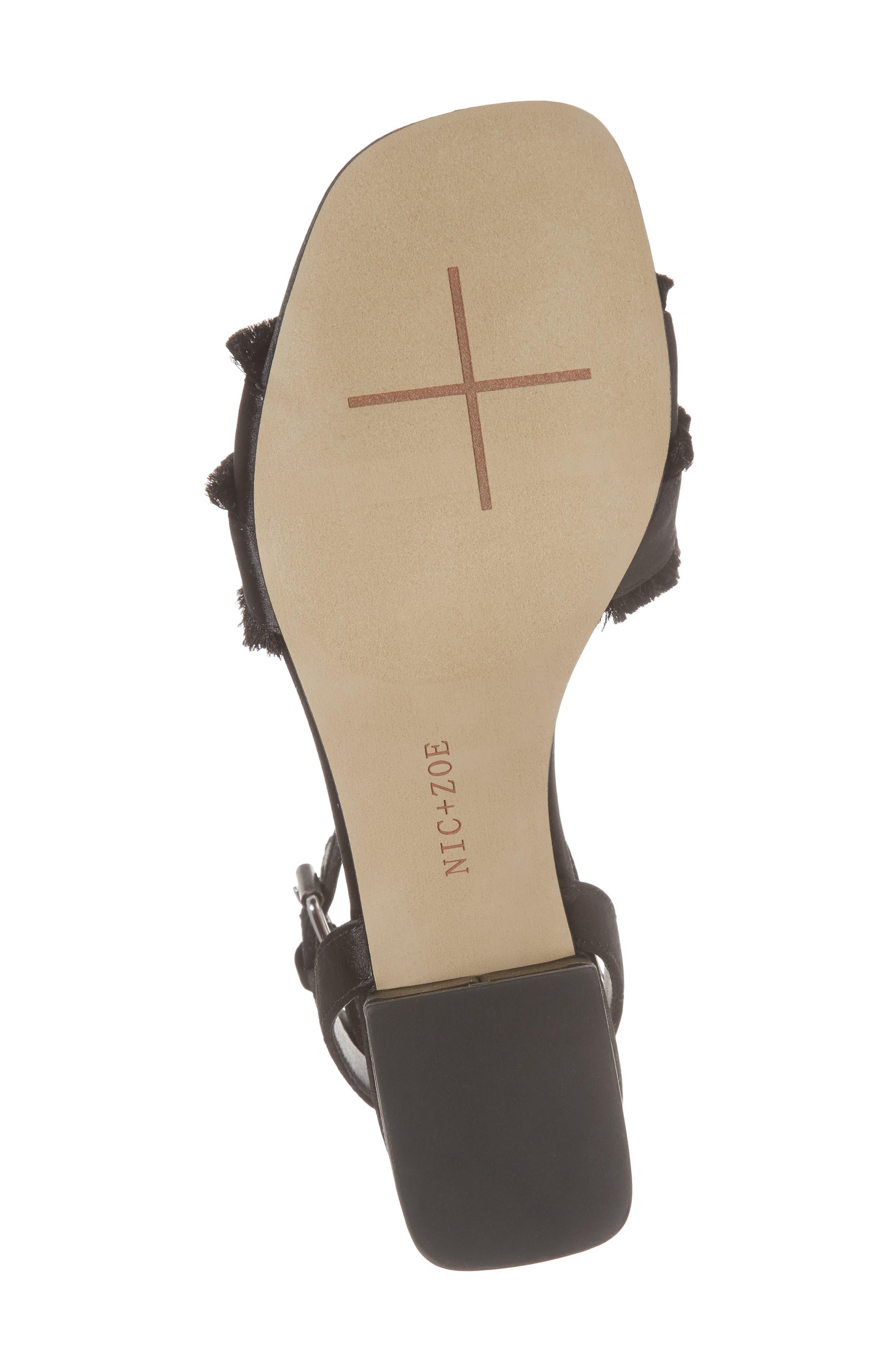 Zaria Fringed Sandal,                             Alternate thumbnail 6, color,                             BLACK SATIN