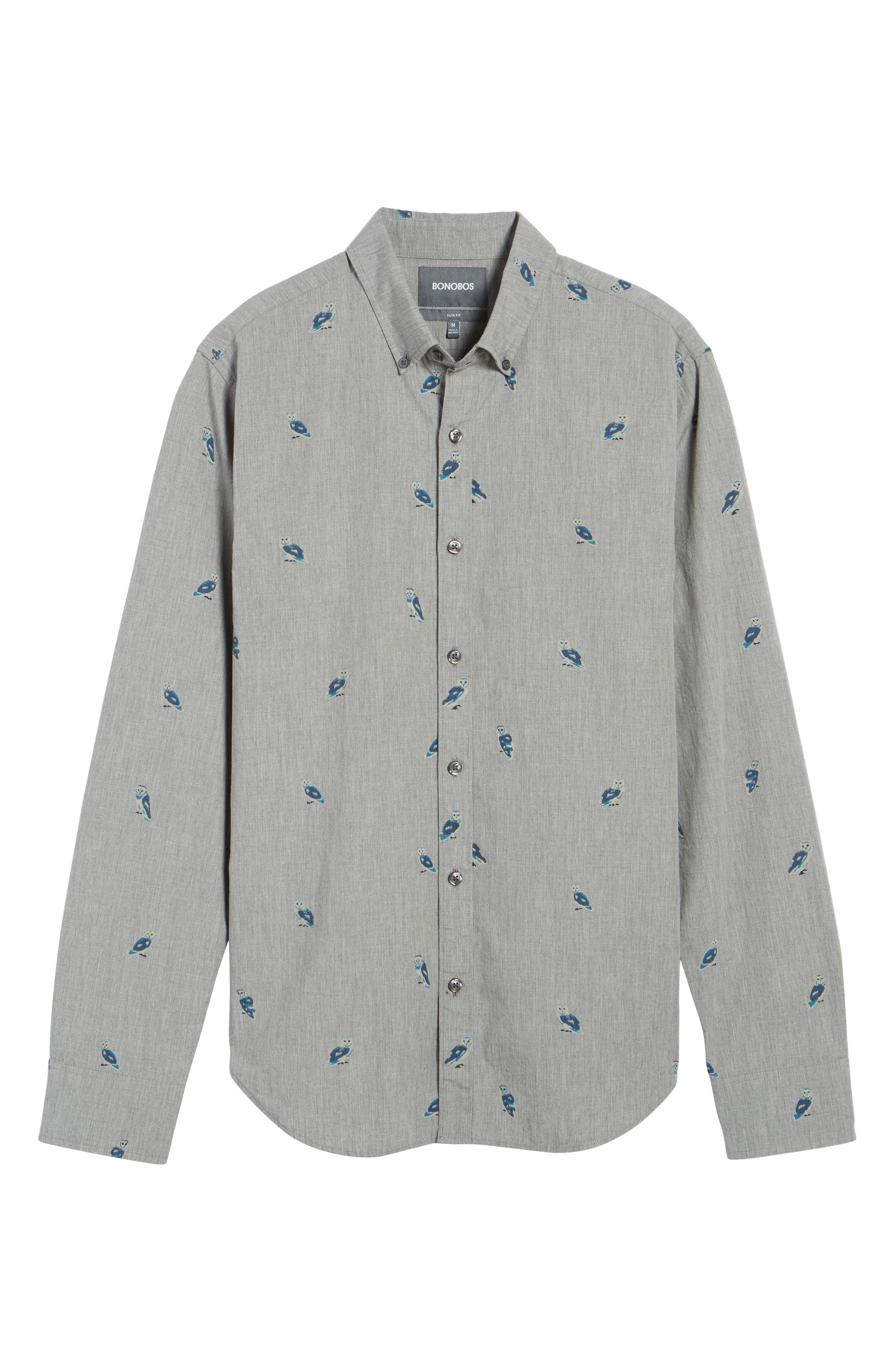 Slim Fit Owl Print Sport Shirt,                             Alternate thumbnail 6, color,                             020