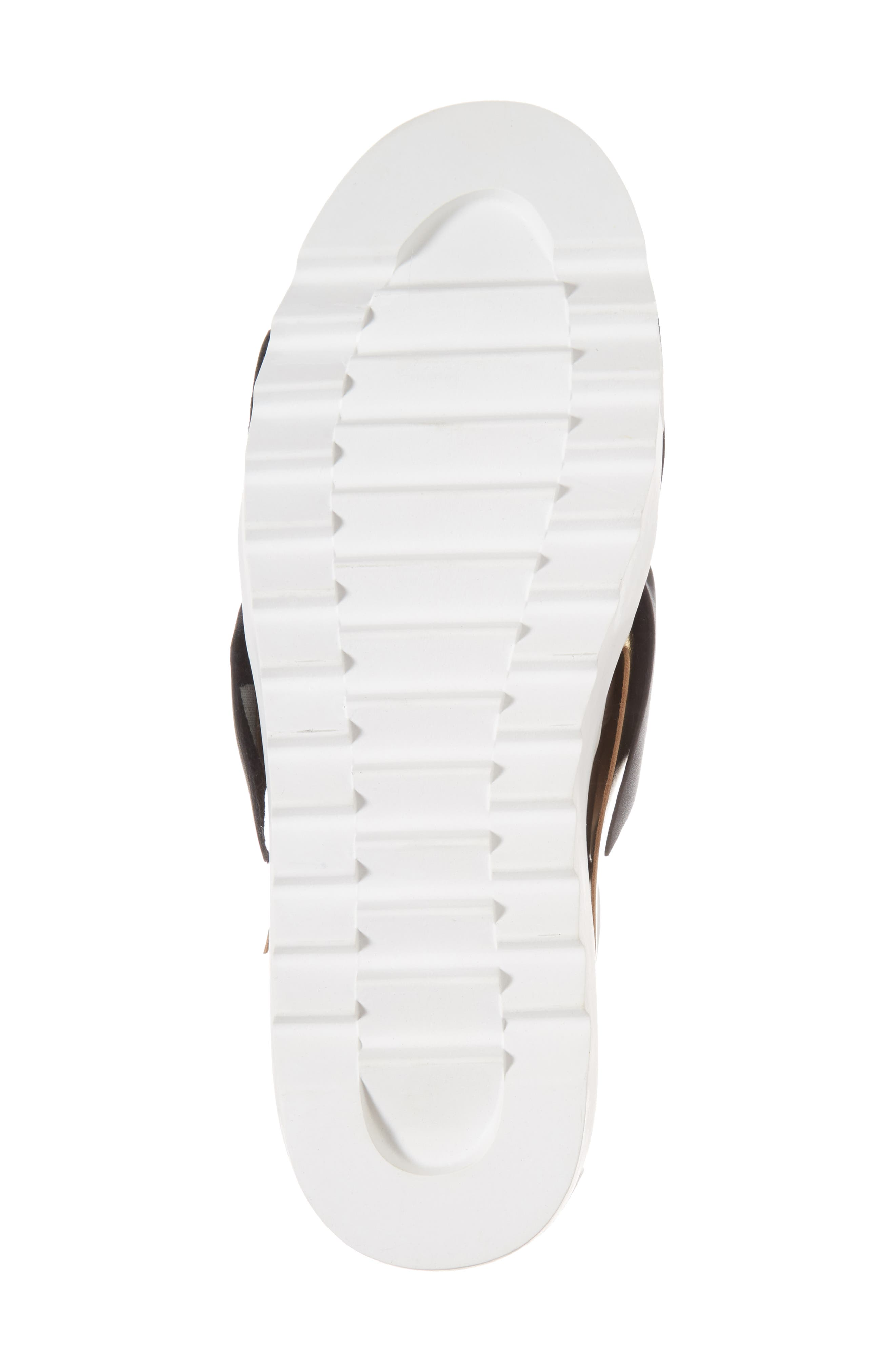 Sadie Ruffle Platform Sneaker,                             Alternate thumbnail 6, color,                             WHITE LEATHER