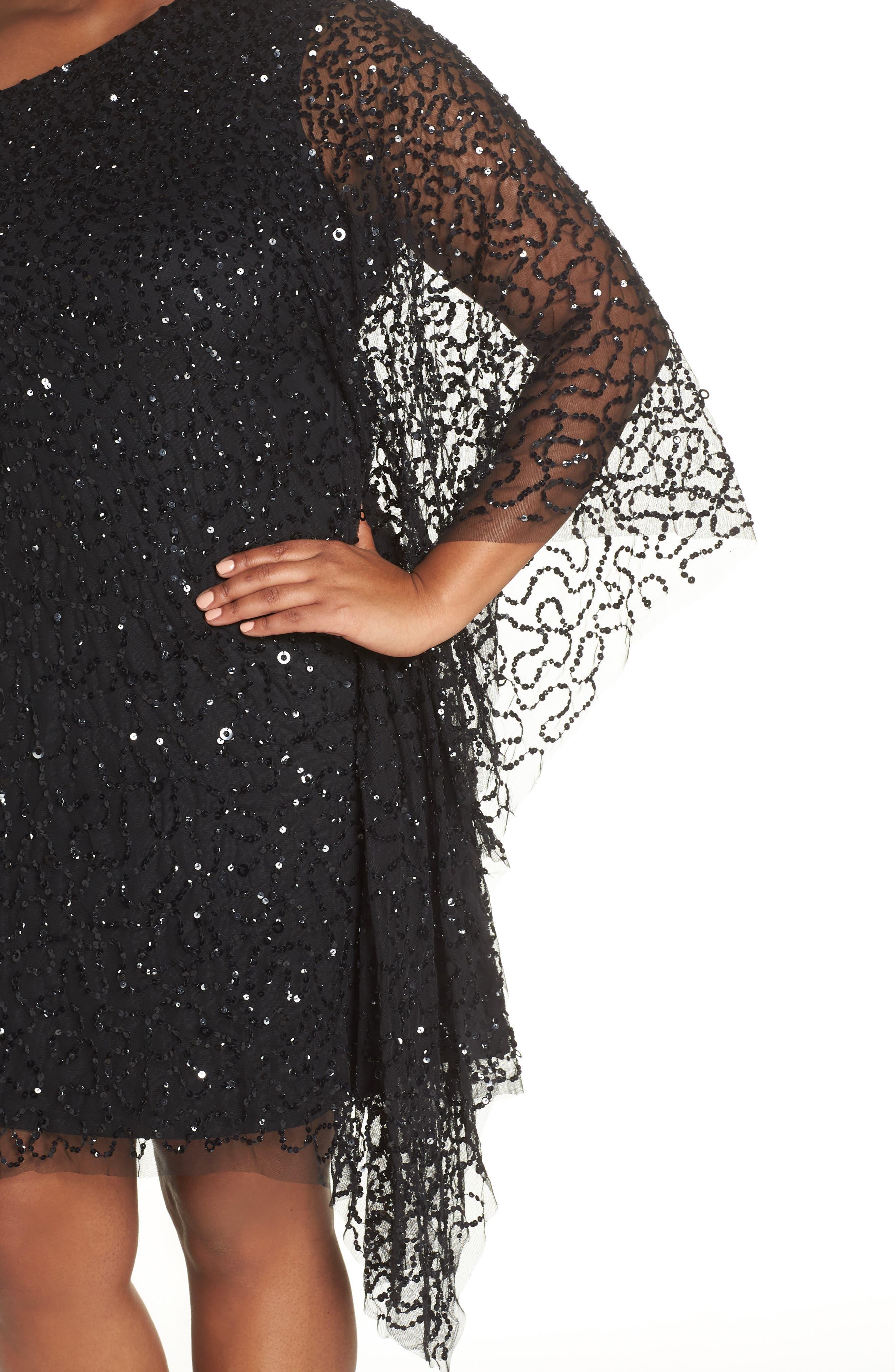 Beaded One-Shoulder Sheath Dress,                             Alternate thumbnail 4, color,                             BLACK