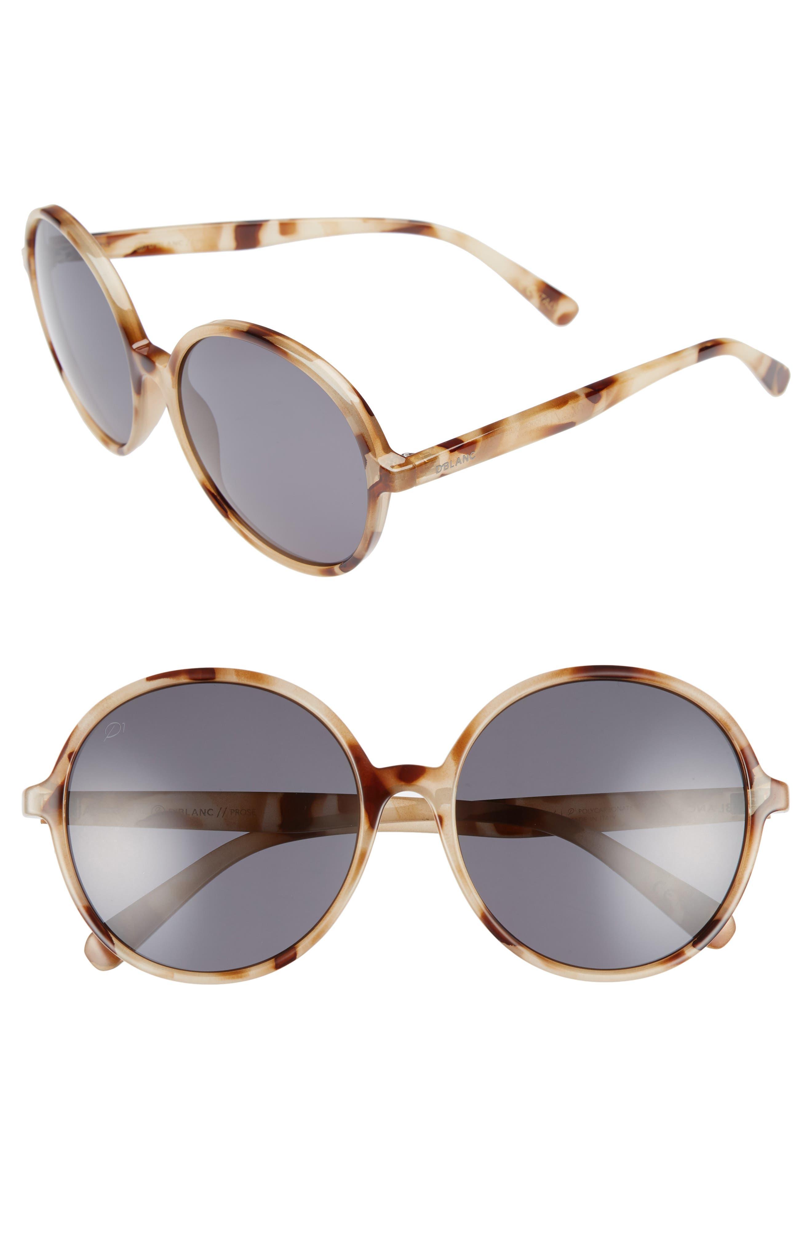 D'BLANC Prose 59mm Round Sunglasses,                         Main,                         color, SNOW LEOPARD/ GREY POLAR