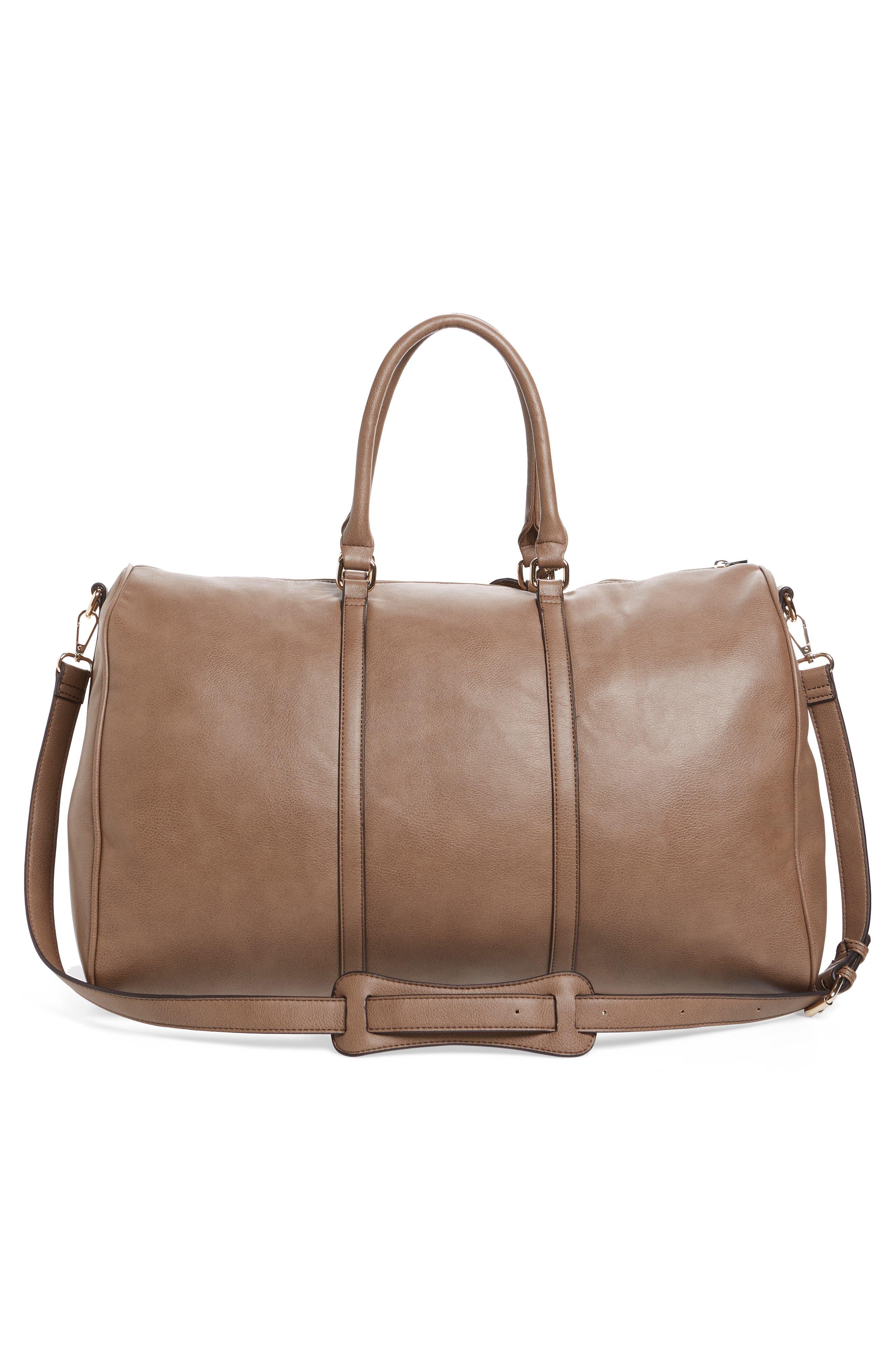 'Lacie' Faux Leather Duffel Bag,                             Alternate thumbnail 3, color,                             022