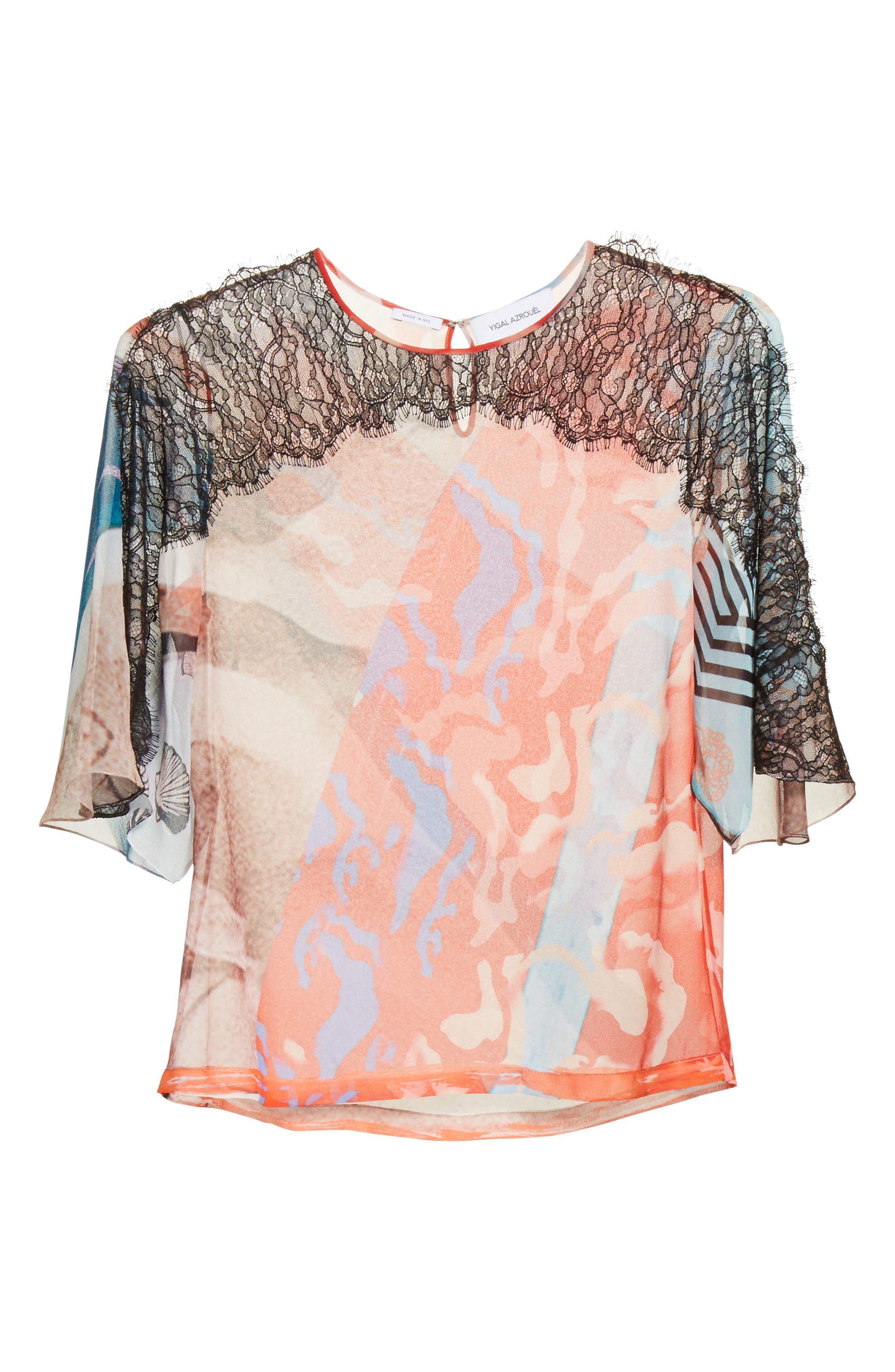 Lace & Print Silk Top,                             Alternate thumbnail 6, color,                             600